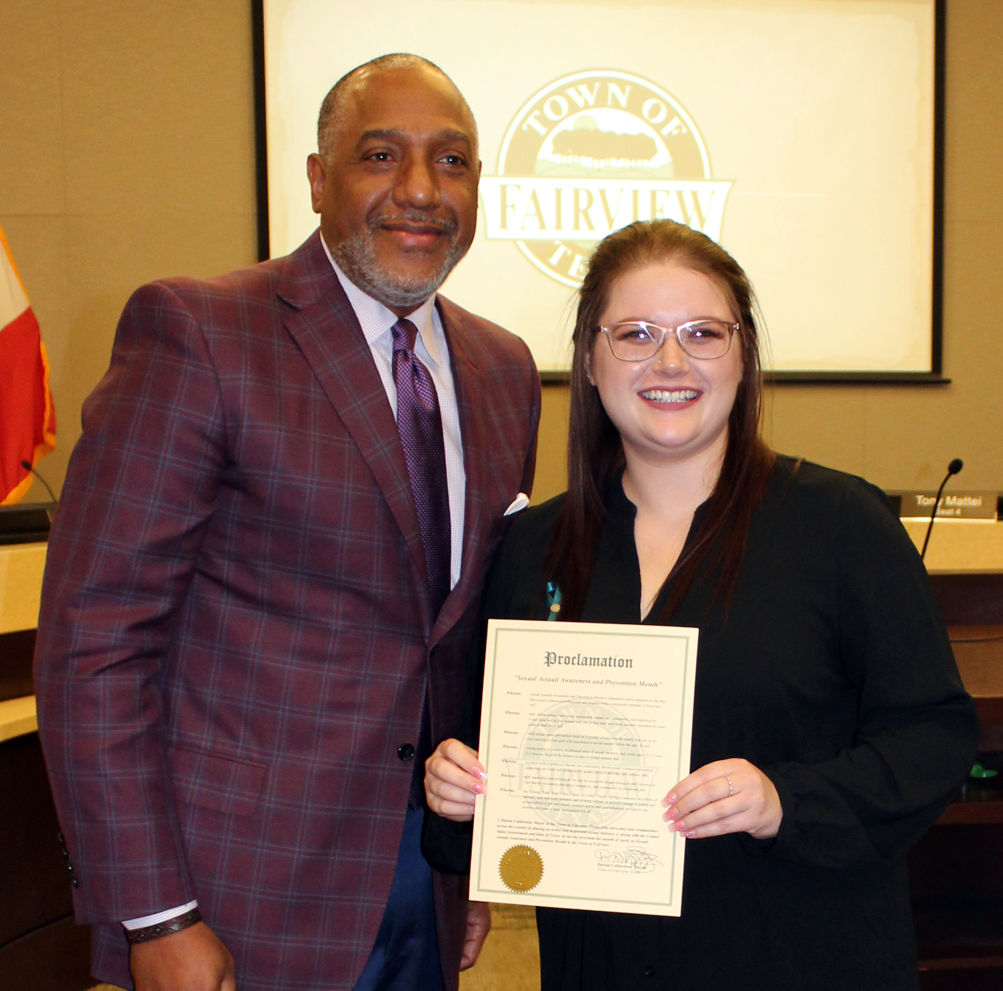 A representative of The Turning Point accepted the proclamation from Mayor Culbertson declaring month of April 2019 as Sexual Assault Awareness Month in the Town of Fairview.