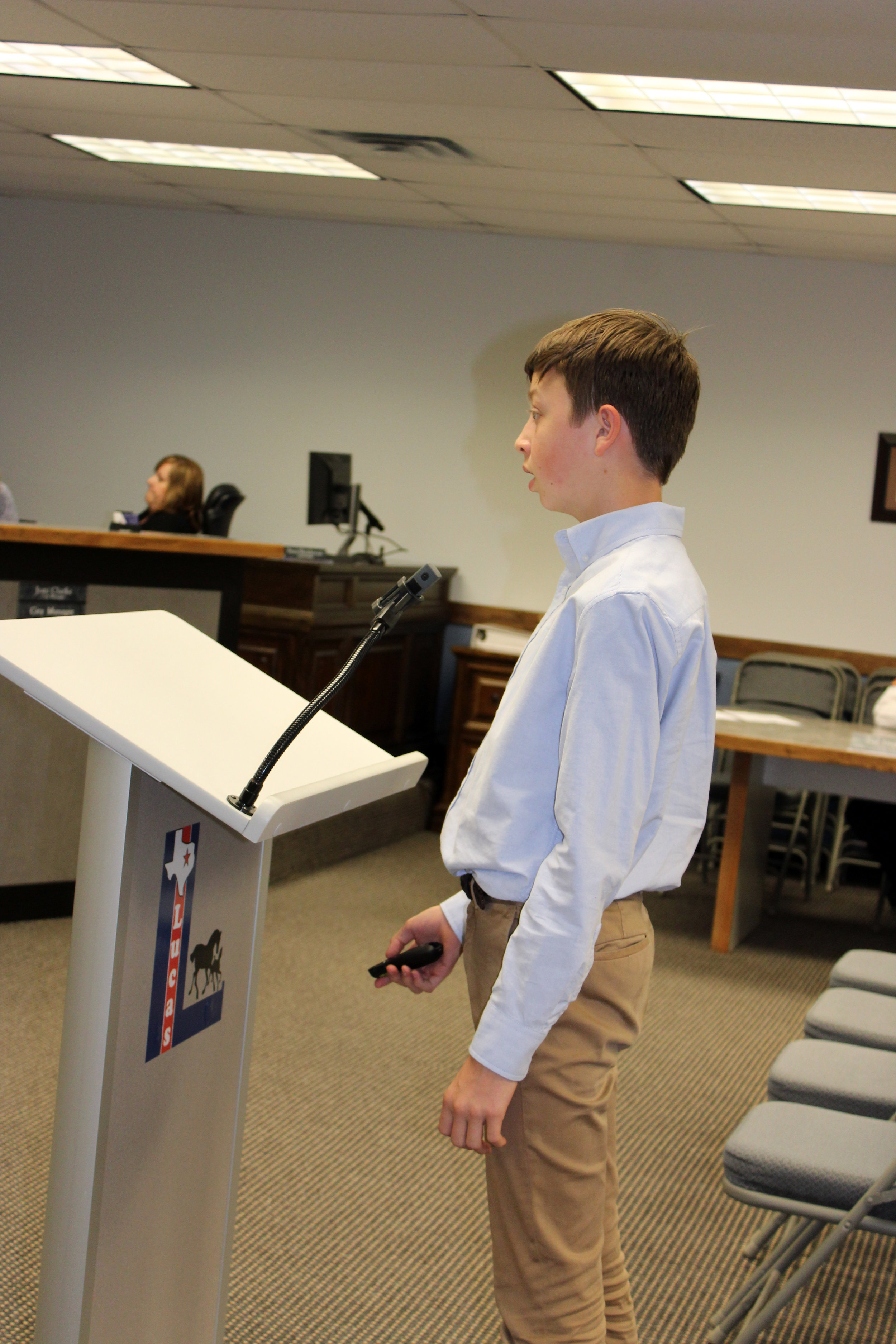 """A presentation was given by Willow Springs Middle School eighth grade student, Tucker Ashley, titled, """"Digital Game Design""""."""