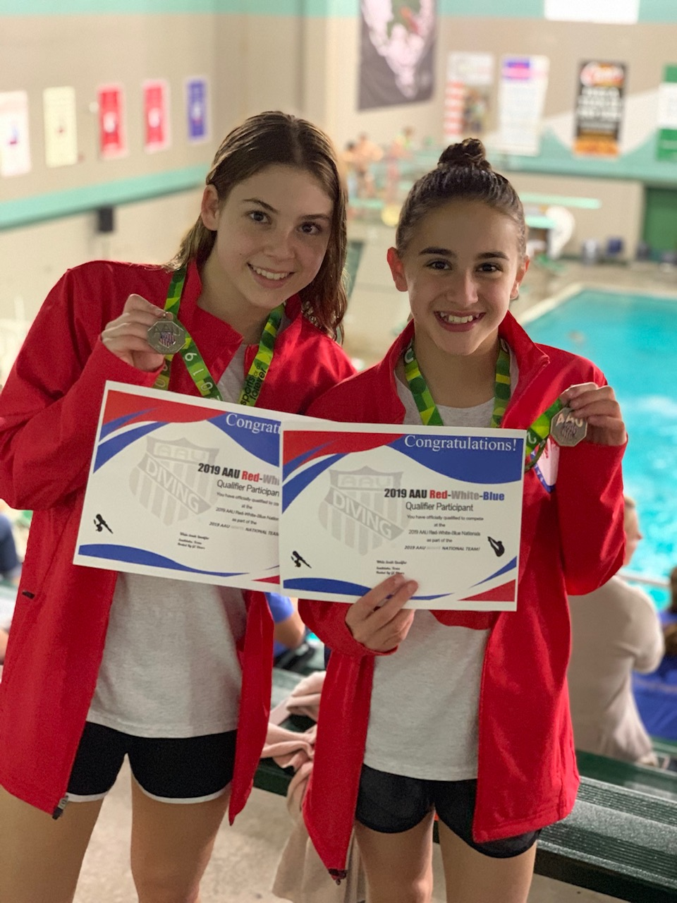 ) Sisters, Ana Laura and Maria Carolina Faoro, qualified to go to the USA Diving Junior Nationals. Ana Laura finished in the top 40 in the nation. Maria finished in the top 12 in the nation. While at Nationals, Ana Laura had opportunities to meet with college recruiters.