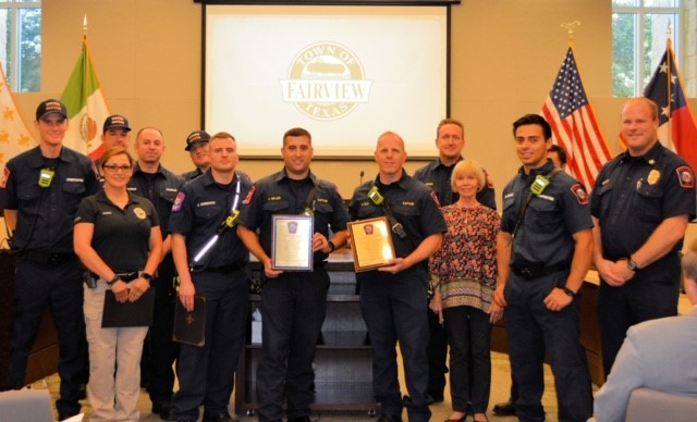 Fairview Fire Chief Jeff Bell presented Life Saving Certificates.