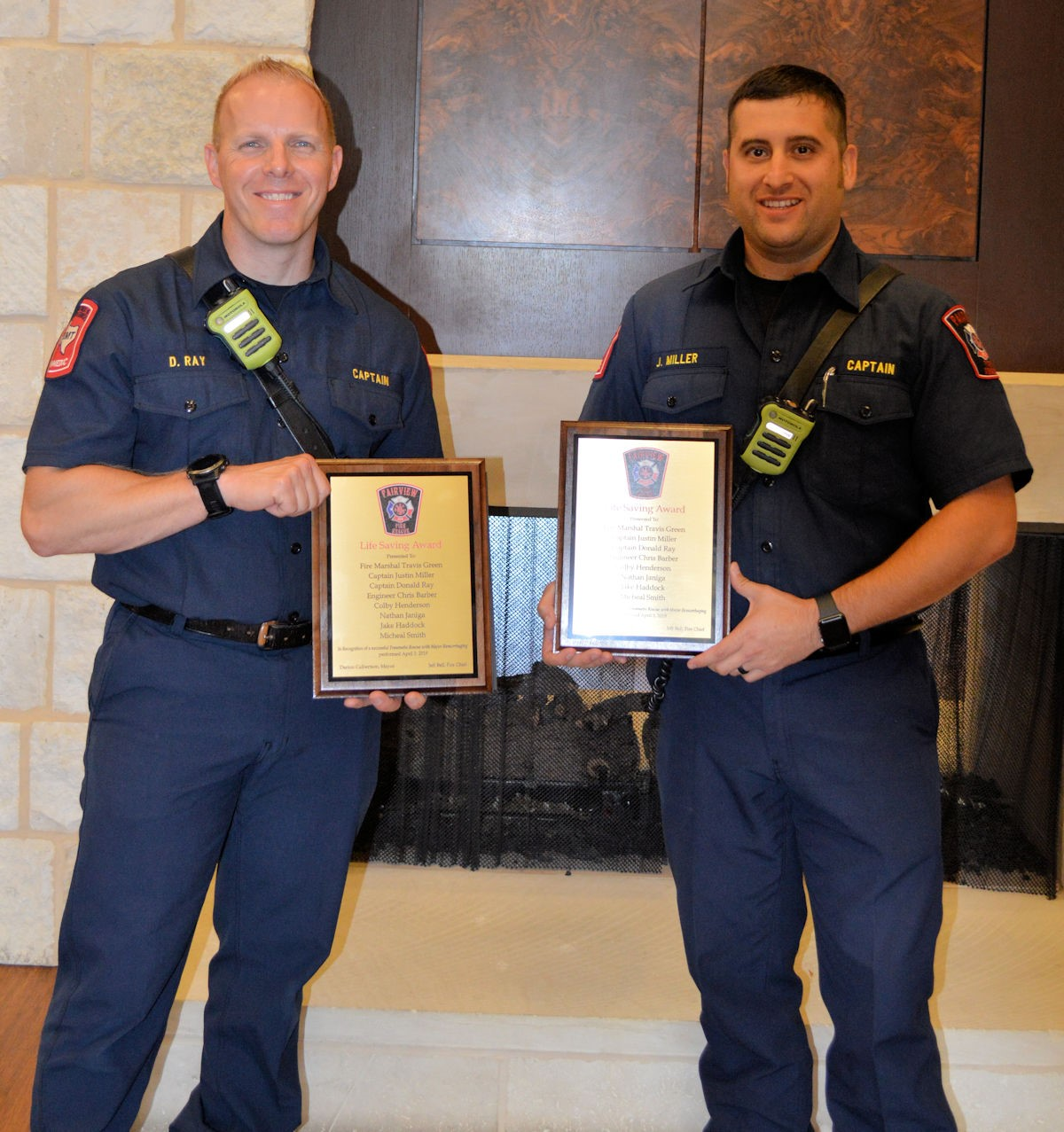 (From left) Captain Donald Ray and Captain Justin Miller during the Life Saving Certificate presentation.