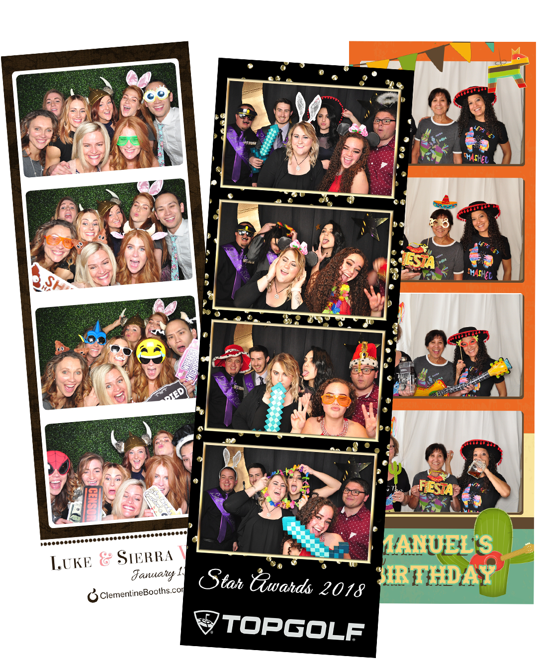 Traditional Booth - This booth is great for any event type. After your guest walk through and strike a pose, they will be greeted with a printed photo strip to take home and forever remember the amazing night they had.