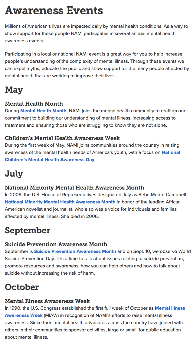 What's Next for NAMI? - Be sure to check out all of their upcoming awareness events!