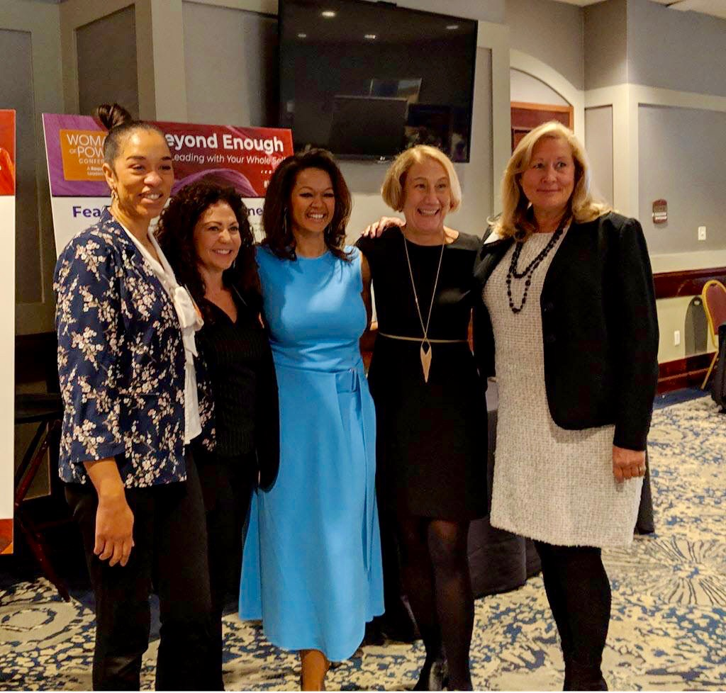 Raquel with the Be Bold Panelists: Heather Terry, Dominion Energy, Diana Fusco, Spectrum Reach, Kathleen Buse, Ph.D, ERC and Katherine Brandt, Thompson Hine.