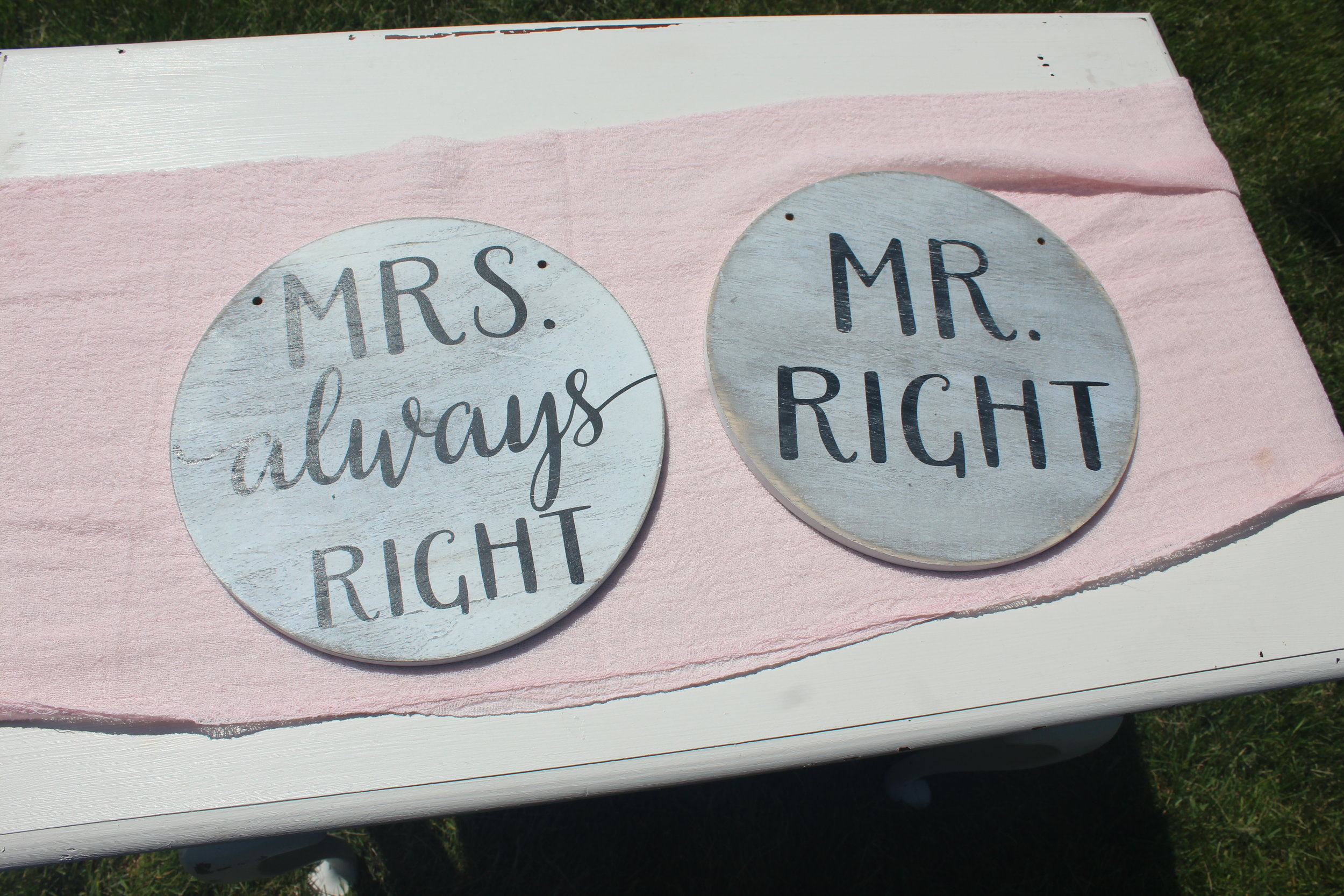 Mr. Right Mr.s. Always Right Chair Signs