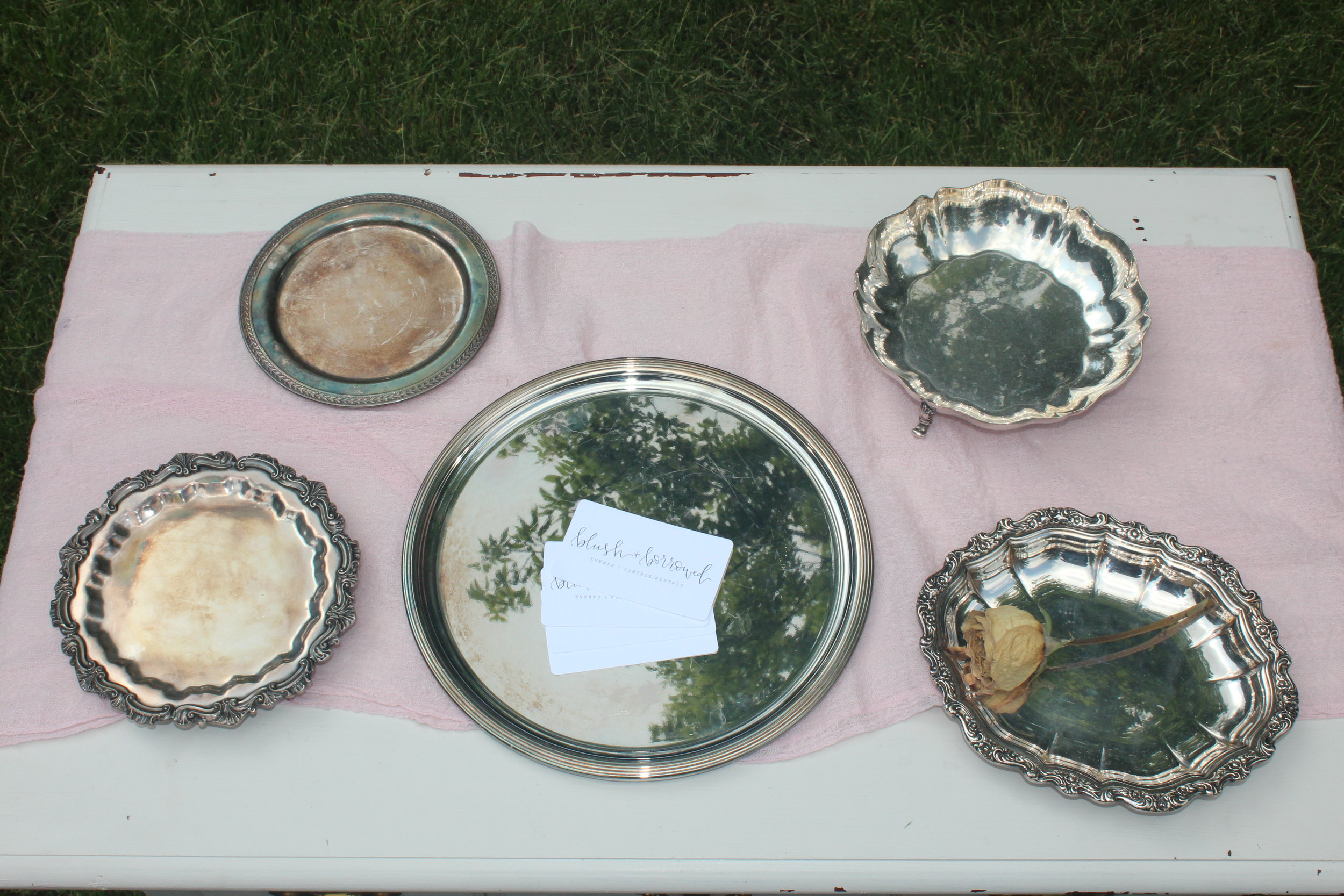 Small Antiqued Silver Trays - Great for ring and boutonniere   pictures