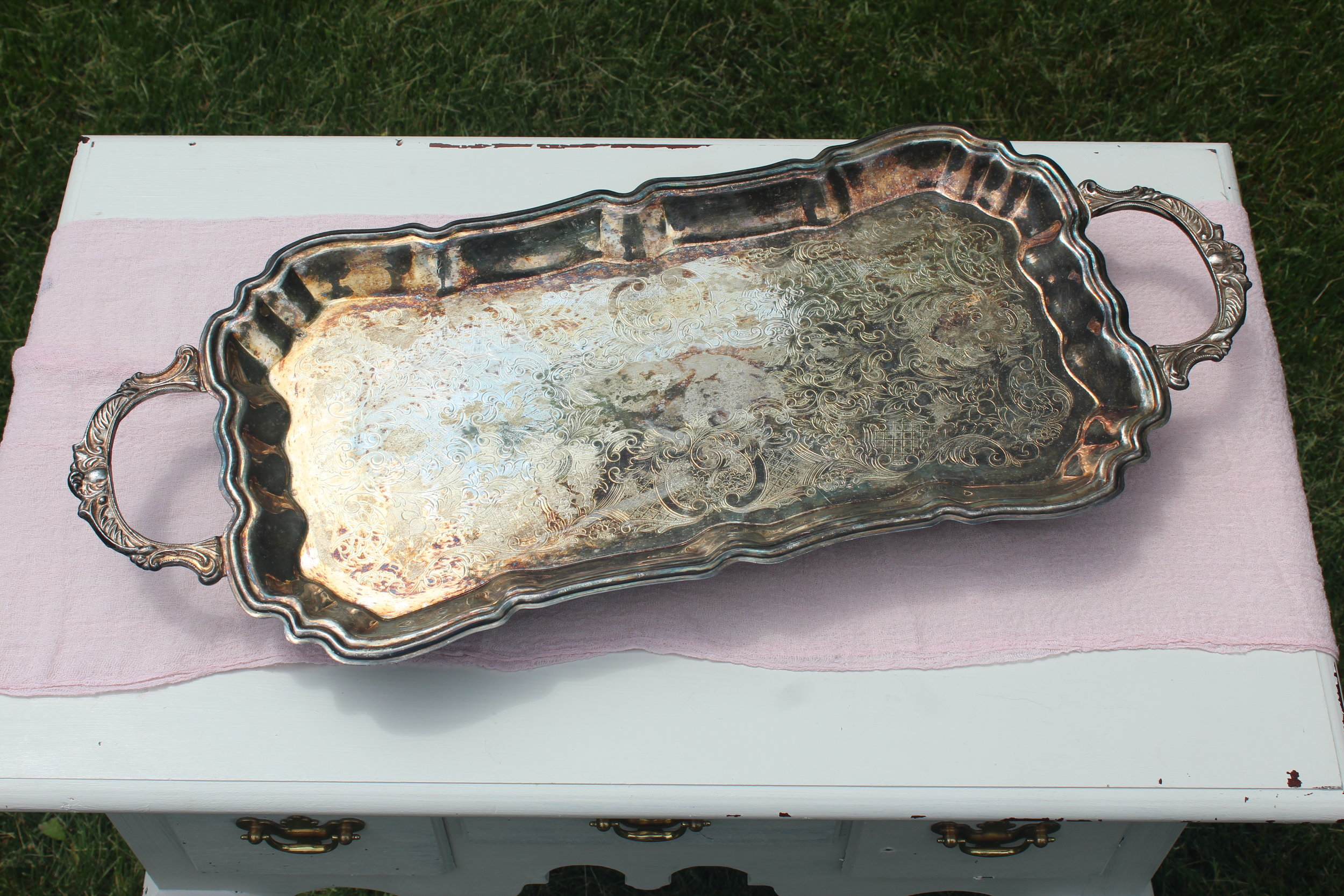 Large Antiqued Tray with feet