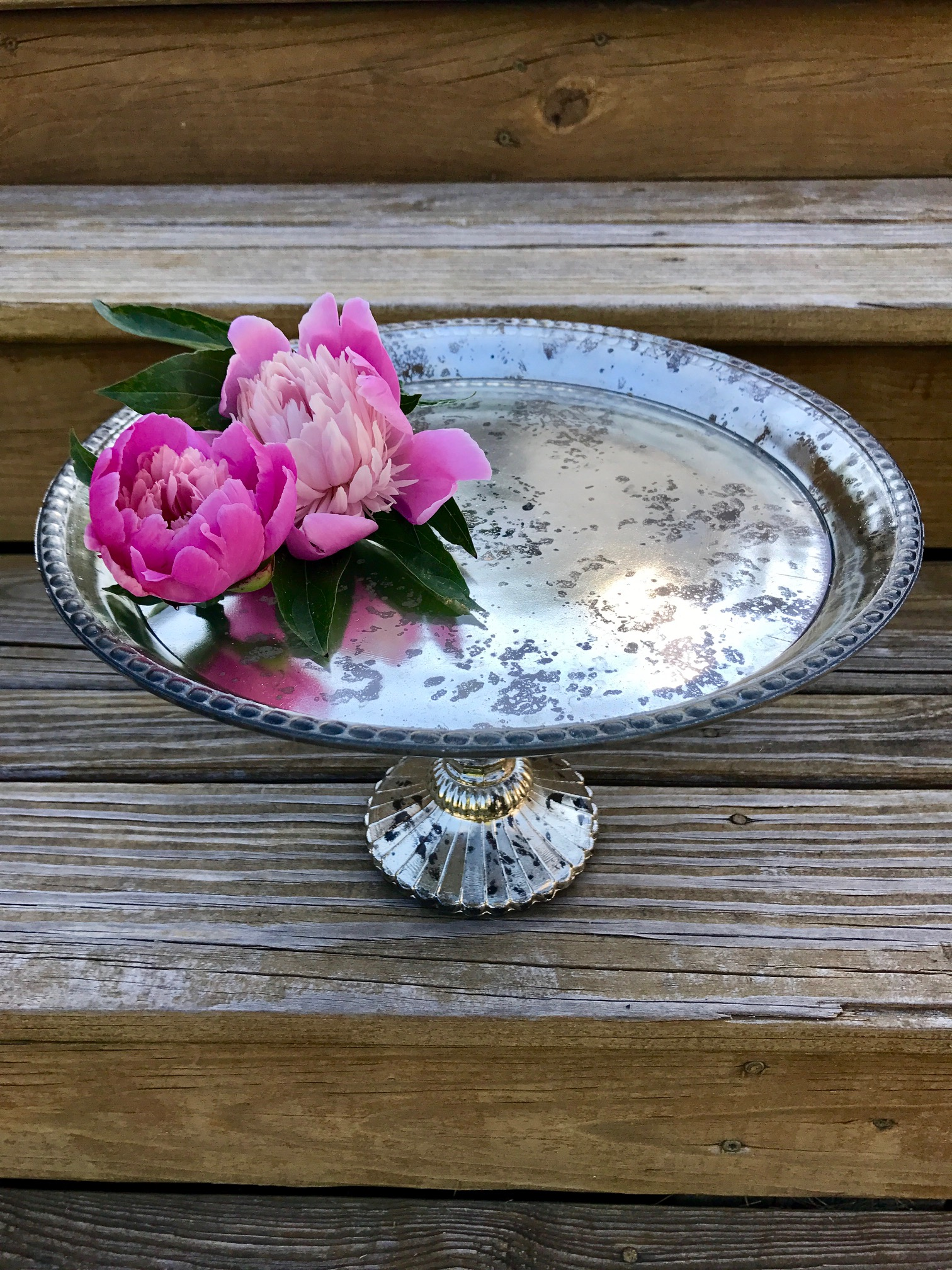 Antiqued Silver Cake Stand