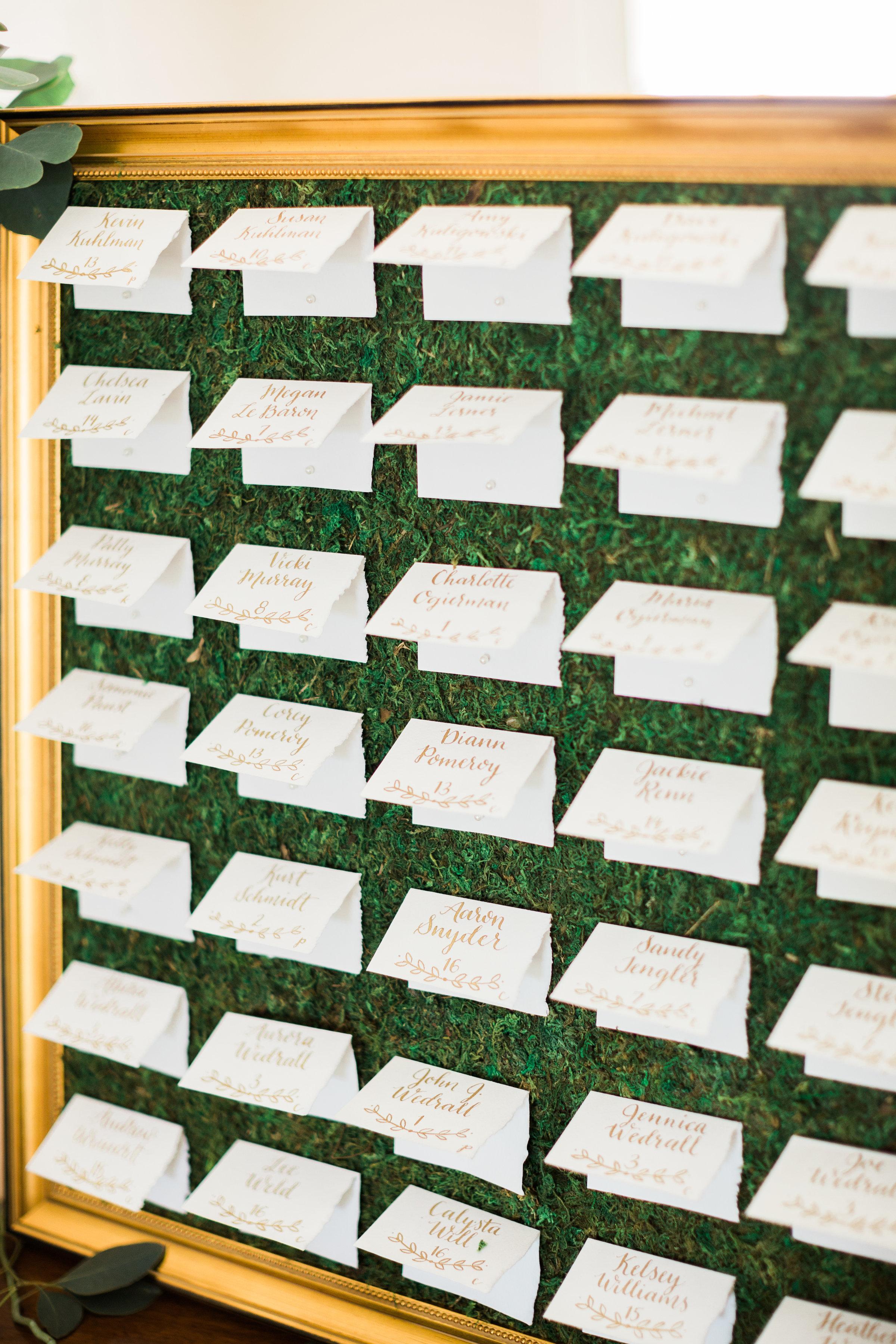 Moss Escort Card Display - Close Up