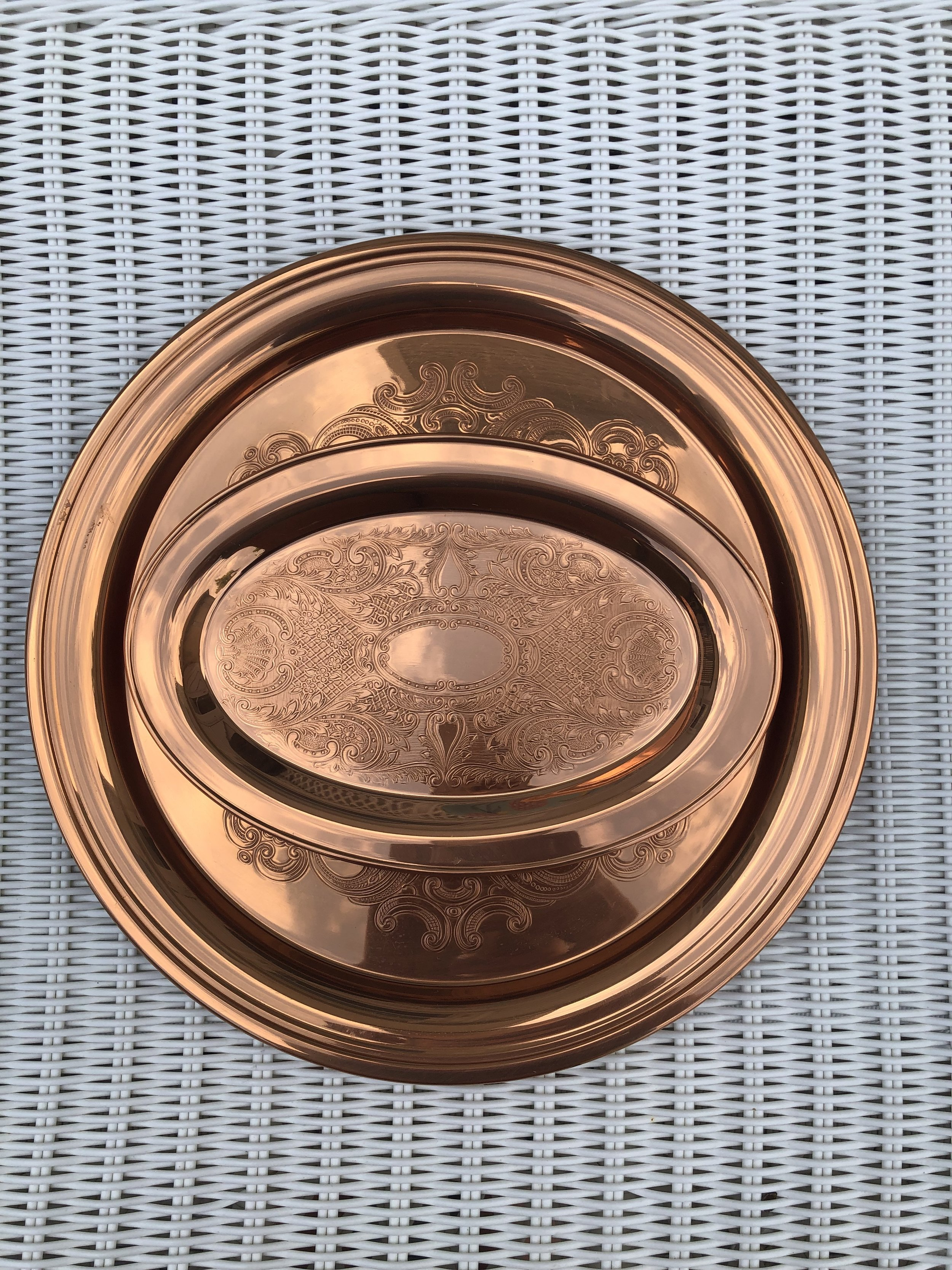 Matching copper tray and platter