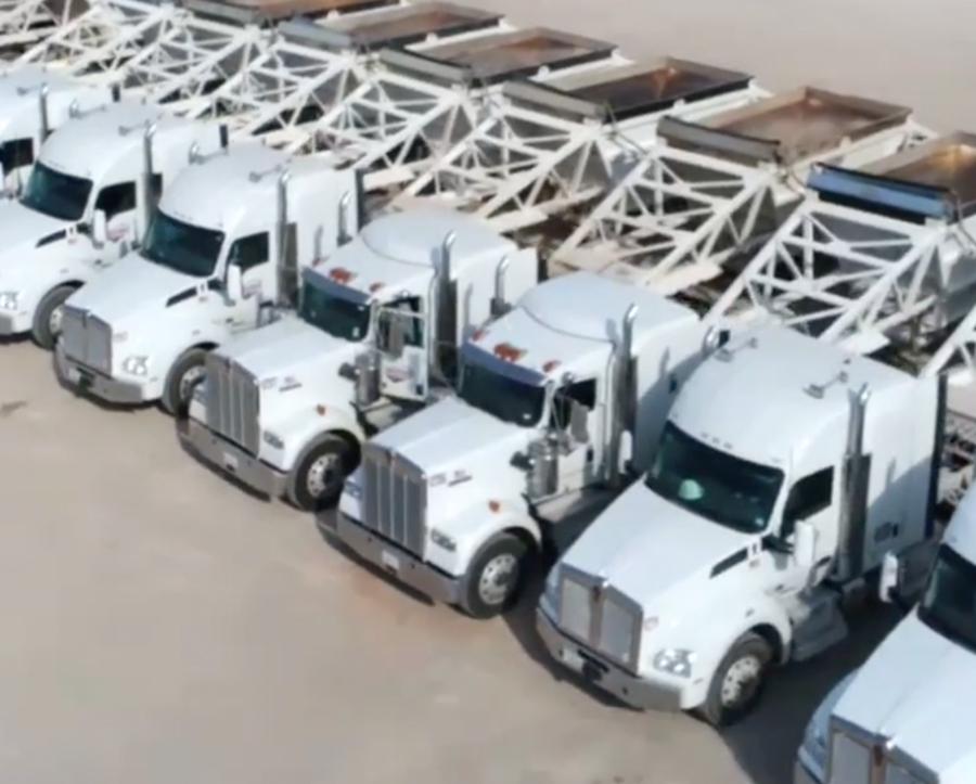 bird's eye view of Brown Transportation's large fleet of trucks