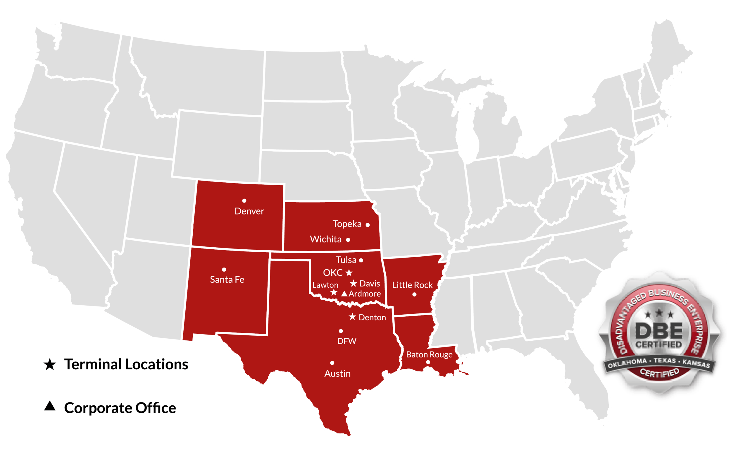 A map of Brown Transportation's areas of operation in the United States