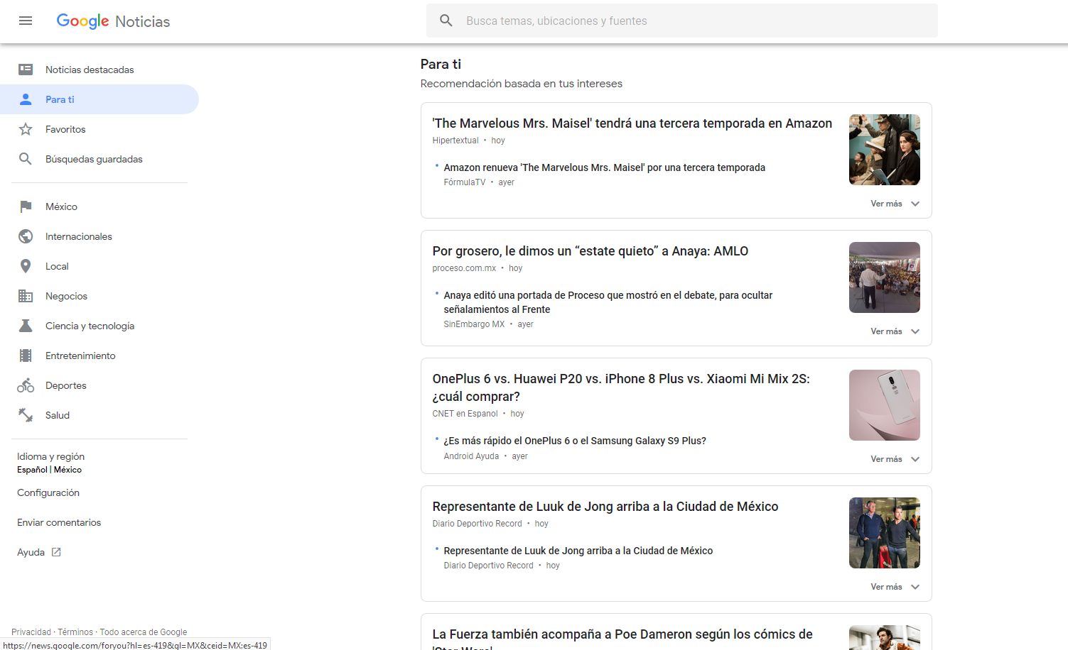 Google News para la PC -