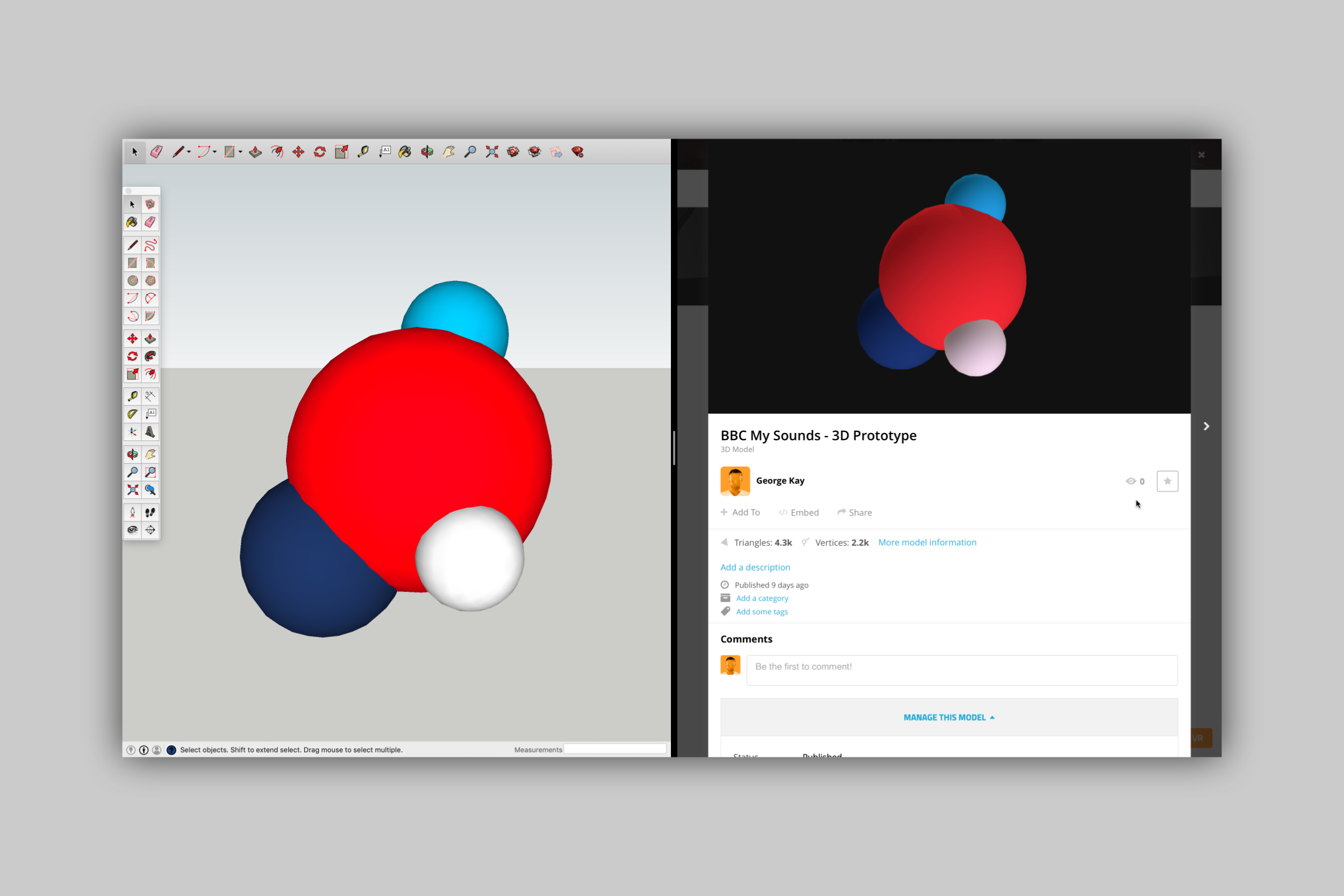 Building and embedding a working 3D model using SketchUp and Sketchfab