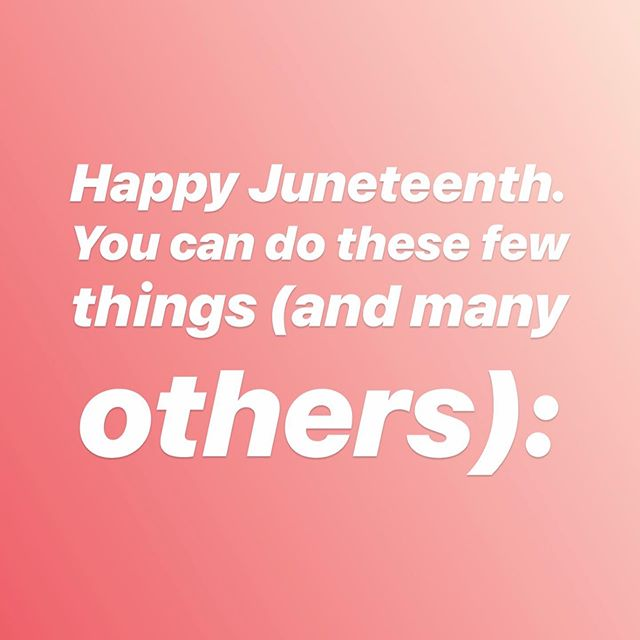 Scroll through to see ways that you can directly serve the Black community. Comment if you have other recommendations, questions, etc. 🗣🗣🗣 Black folks/folx - tag your businesses/non-profits/artists' page, leave your Cashapp, Venmo, PayPal, or even just tell me and others what Juneteenth means to you. 📸: honeyandlimephoto •🎙: @guesswhoscomingpodcast