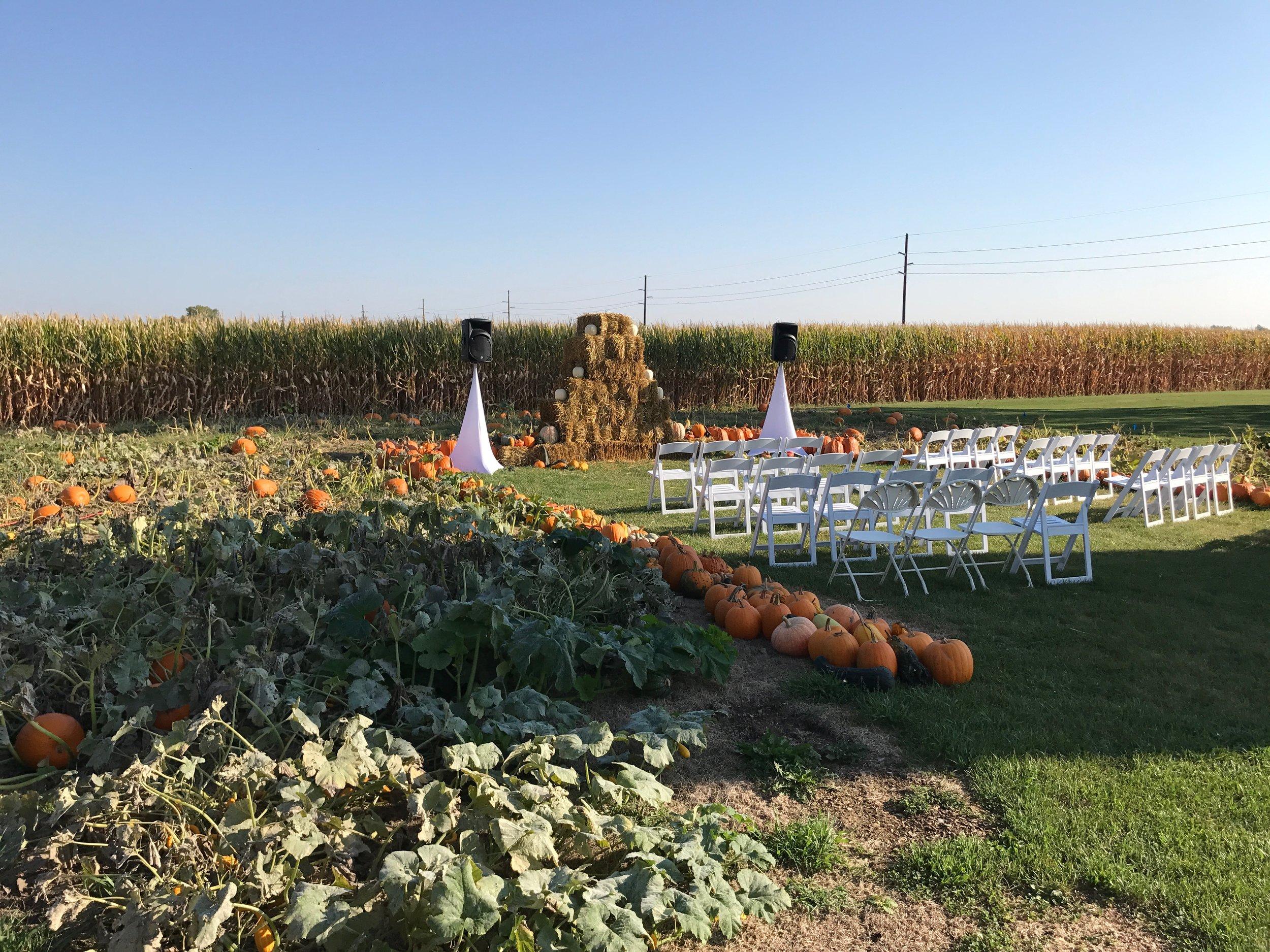 Outdoor fall wedding ceremony Quad Cities
