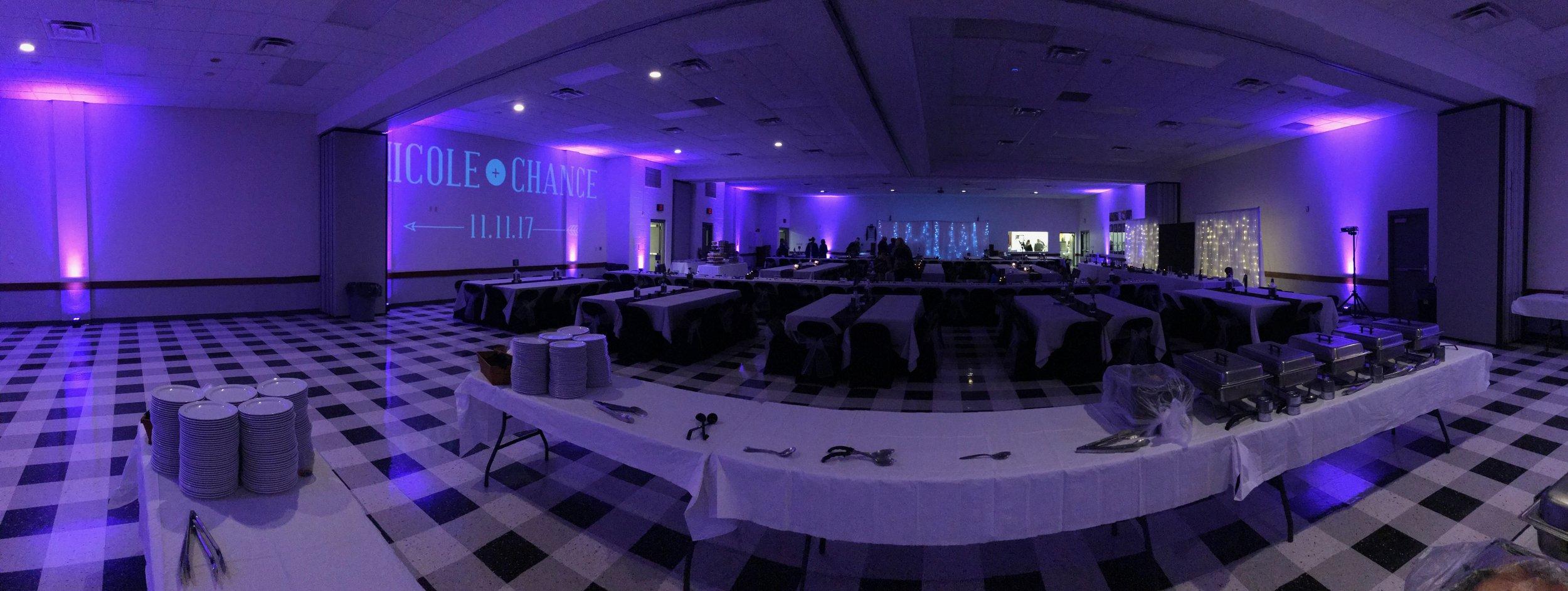 Large wedding venue Uplighting