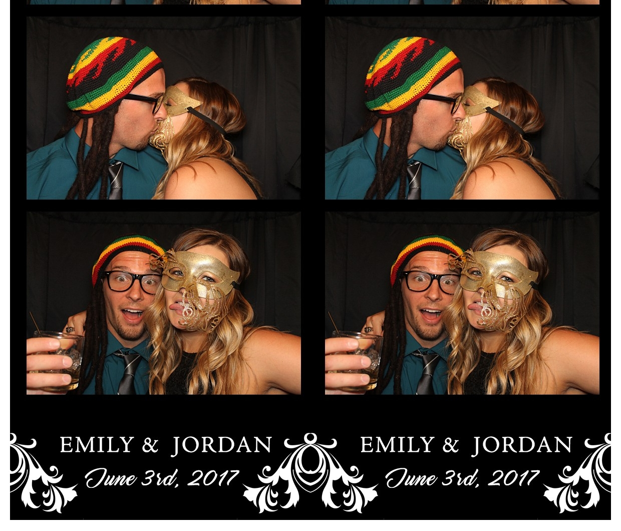 Photo booth kiss at a Quad Cities Wedding