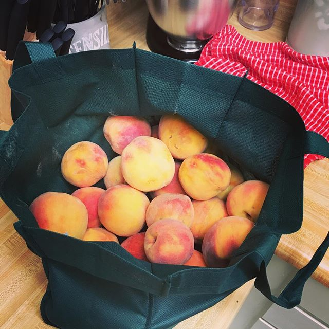 Just bought over 5 lbs of organic peaches from a farmer down the street for a 1/4 of the price from the grocery store! #organicpeaches #delicious #afteryoga #alreadyatetwo #yummy