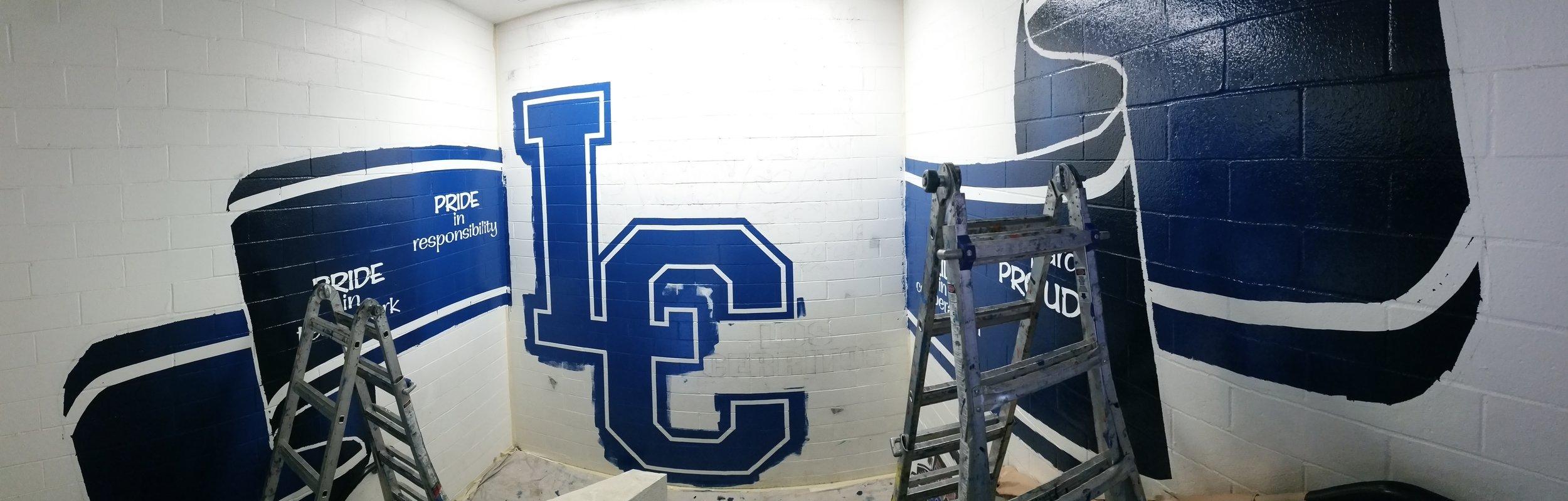 HAND PAINTED SCHOOL MASCOT MURAL - painted work in progress