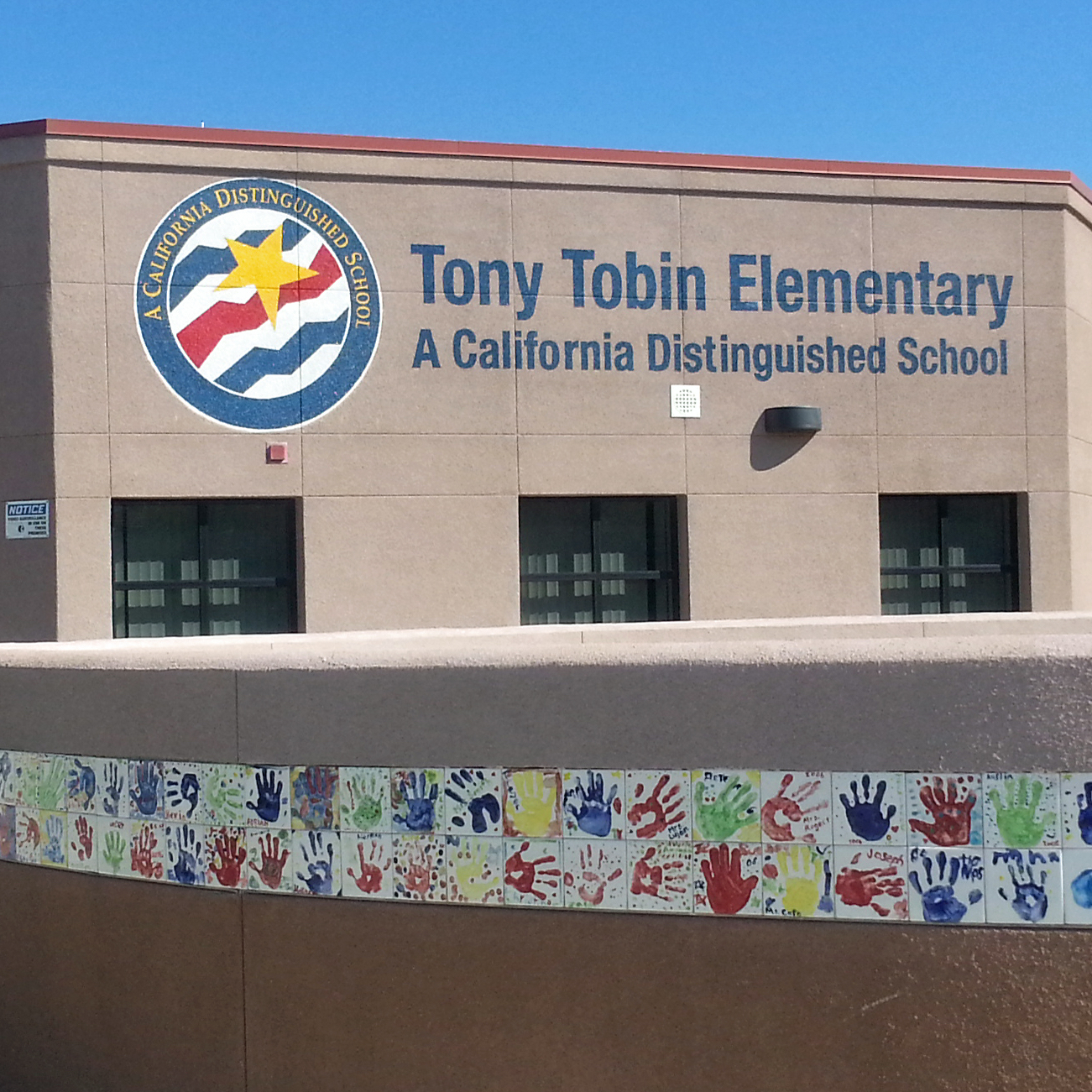 Tony Tobin Elementary hand painted Distinguished School Award sign