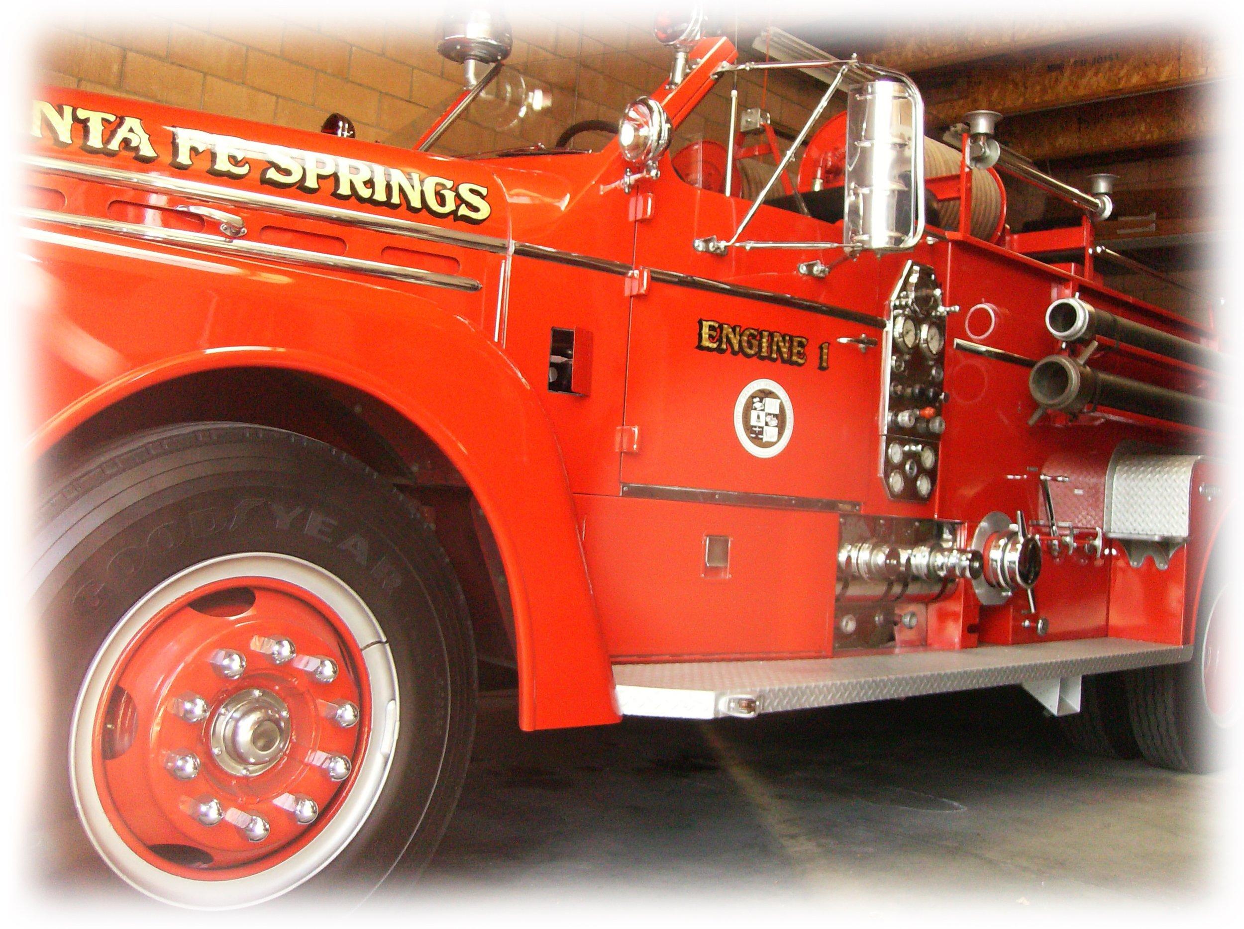Santa Fe Springs gold leaf on antique fire truck