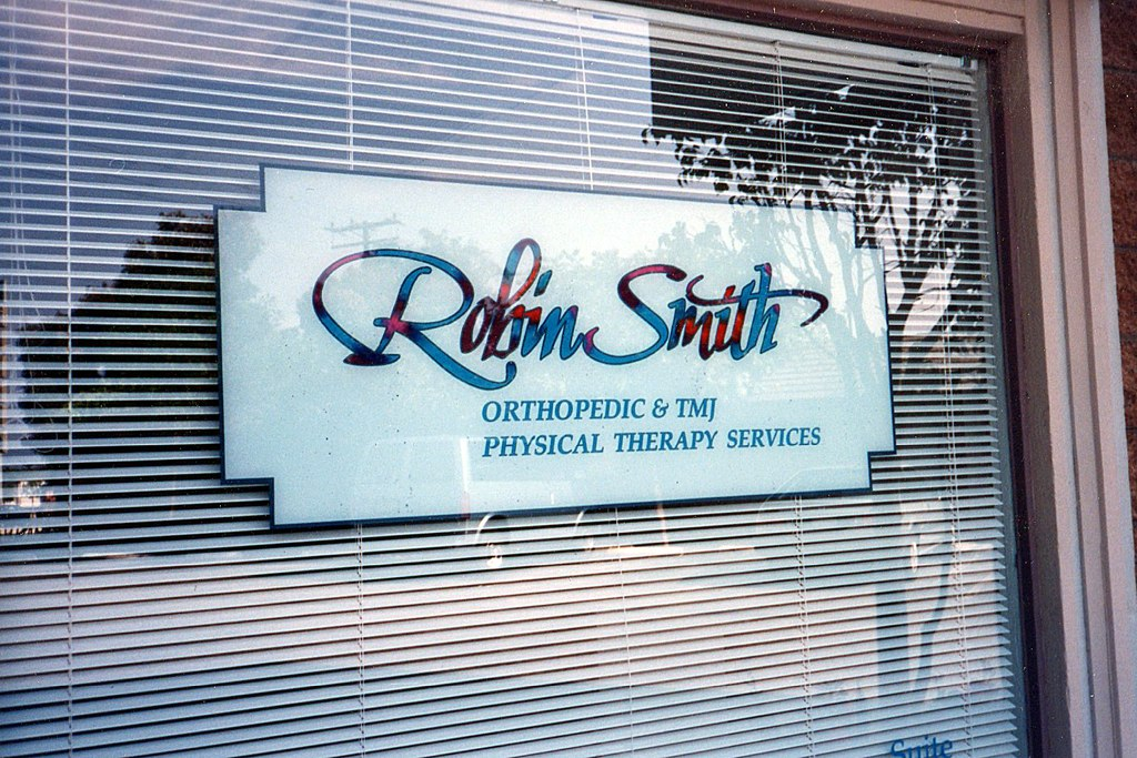 Robin Smith Physical Therapy hand painted window