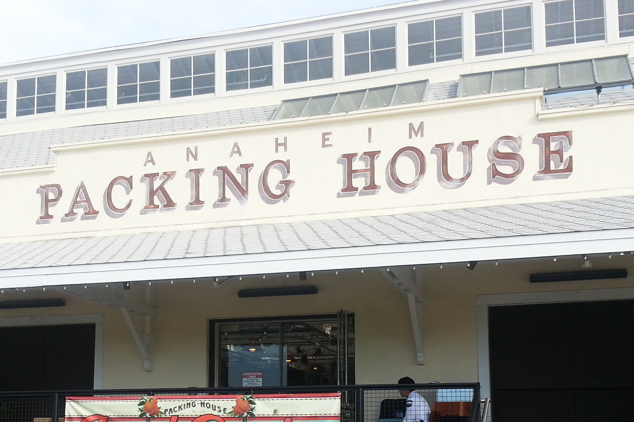 Anaheim Packing House hand painted graphic mural - entrance