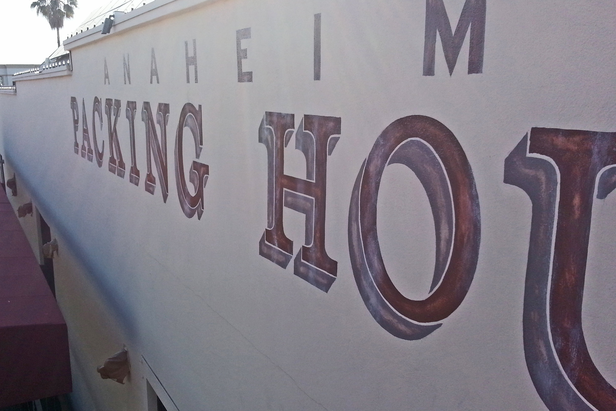 Anaheim Packing House - hand painted graphic mural distressed lettering detail