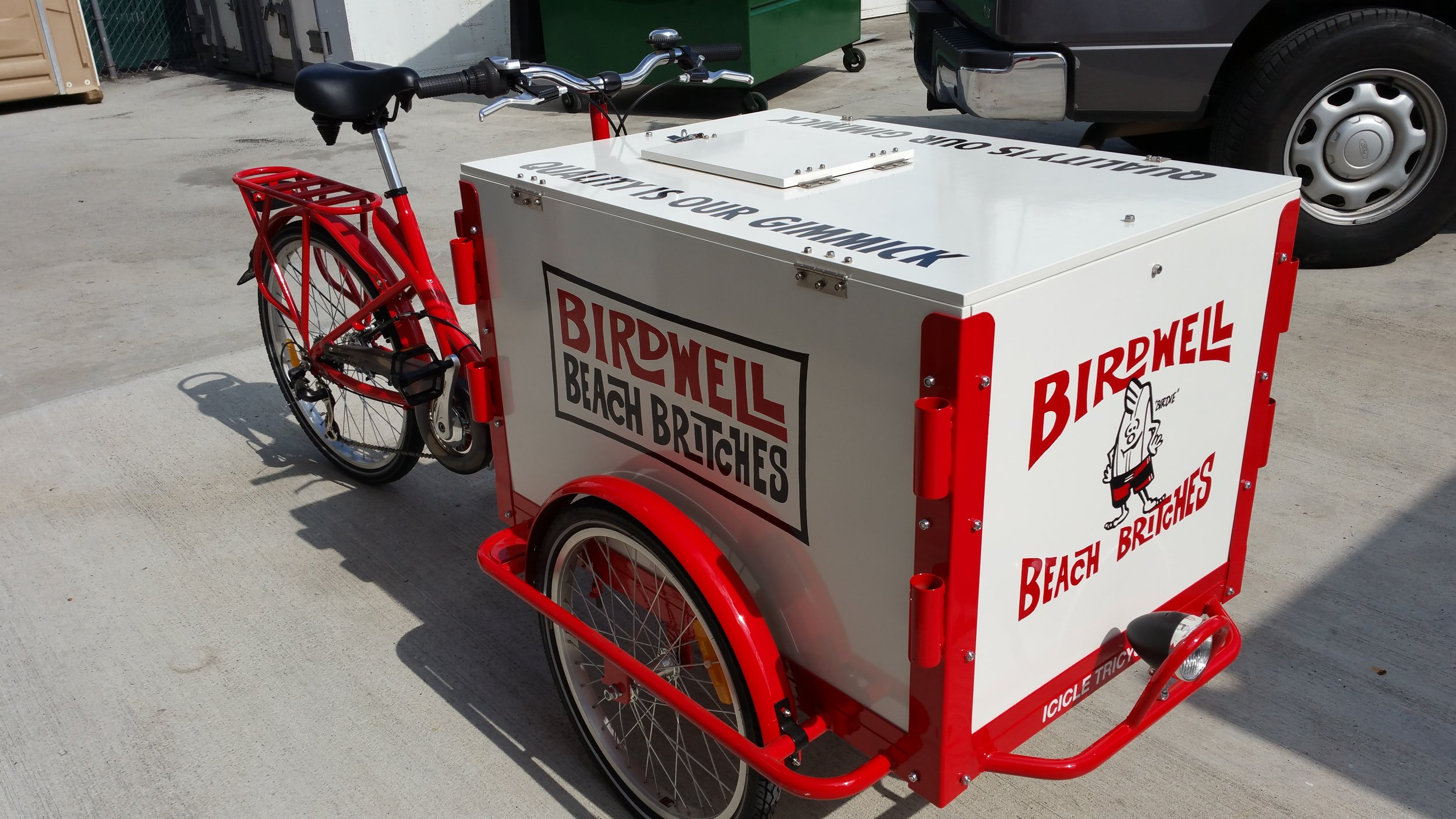 Birdwell Beach Britches hand lettered marketing cart
