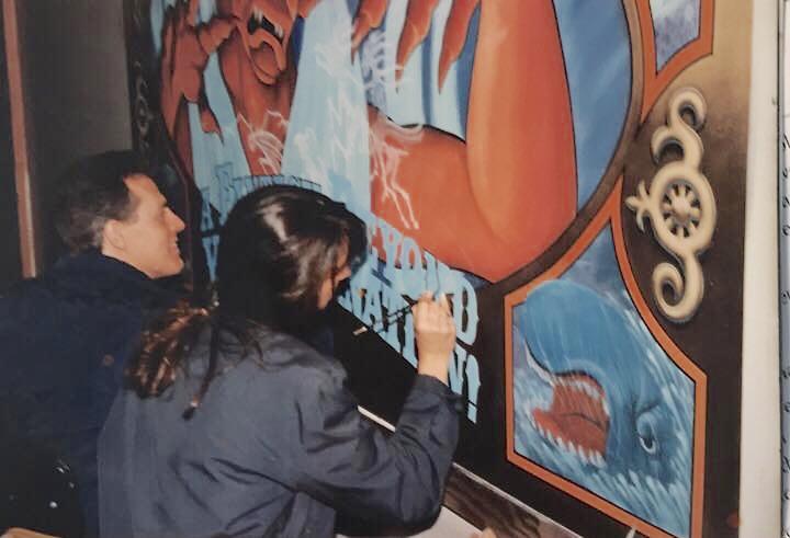 Sign painting - Fantasmic construction fence graphics at Disneyland 1990