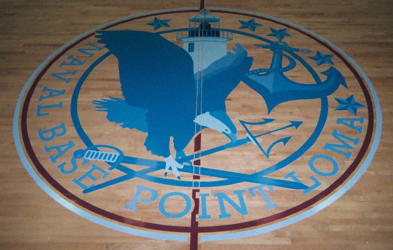 Point Loma Naval Base gym wood floor hand painted graphics