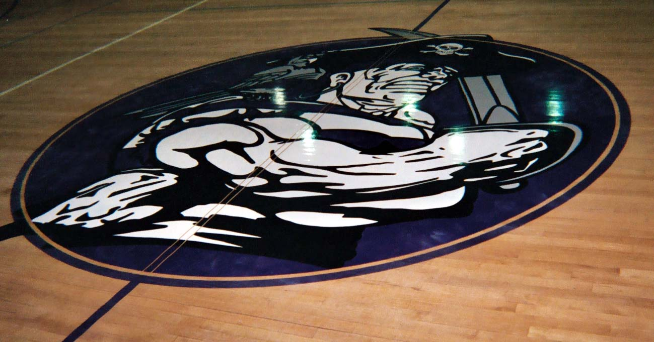 Pacific High School gym wood floor hand painted graphics