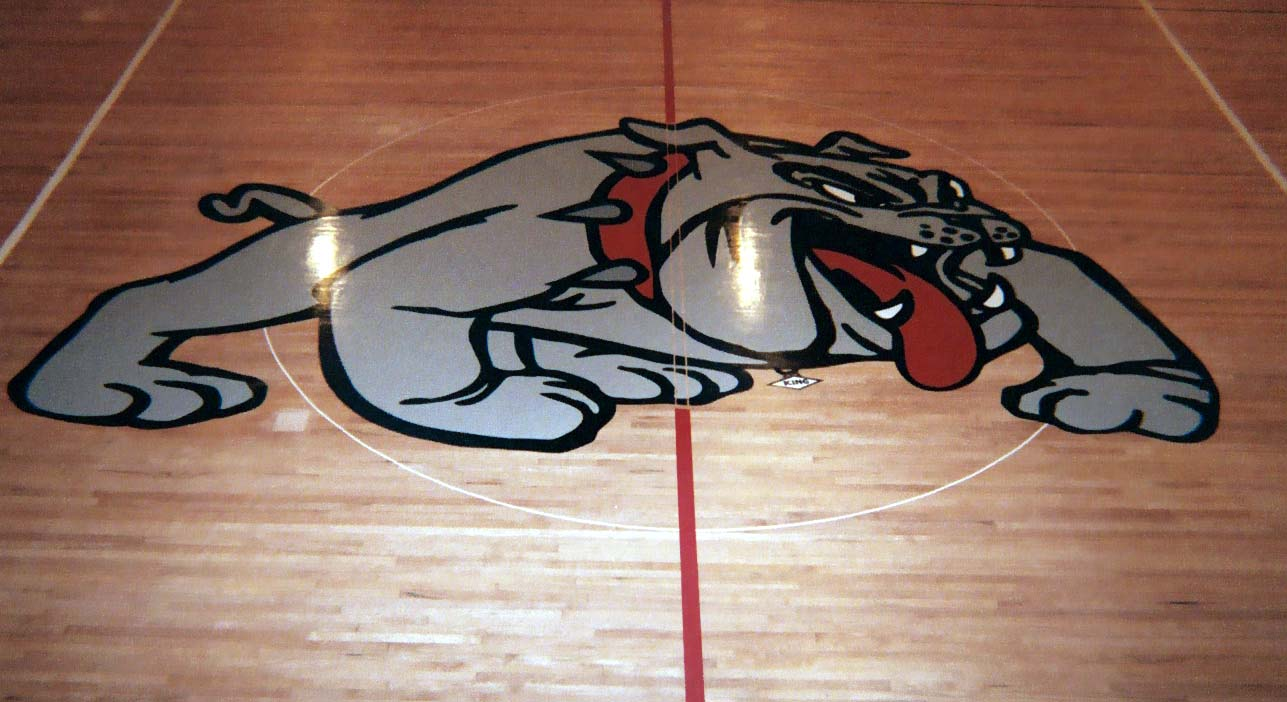 Pasadena High School gym wood floor hand painted graphics