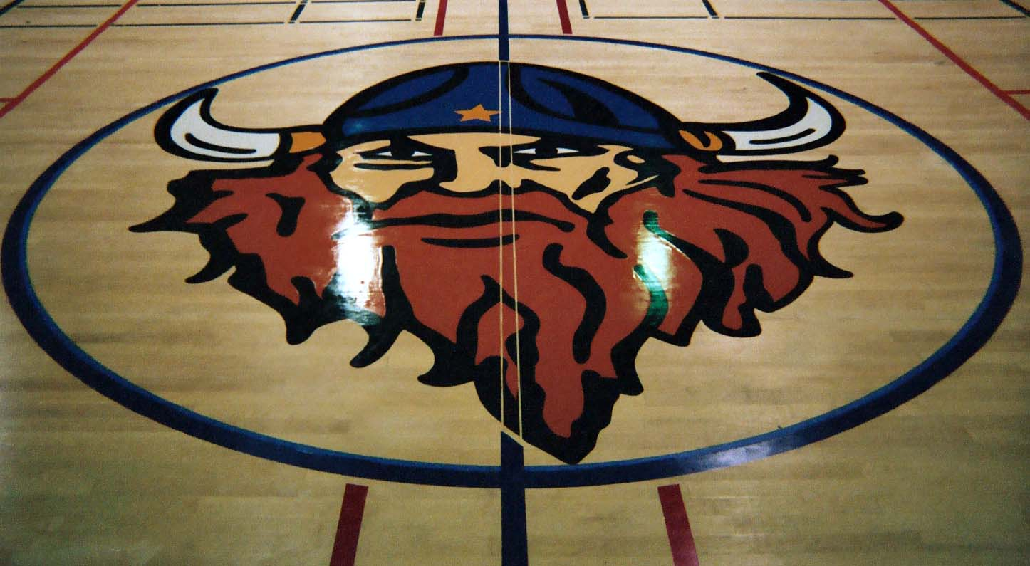 gym wood floor hand painted graphics