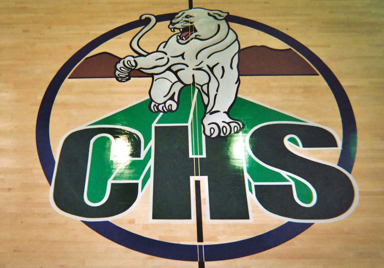Chaparral High School gym wood floor hand painted graphics