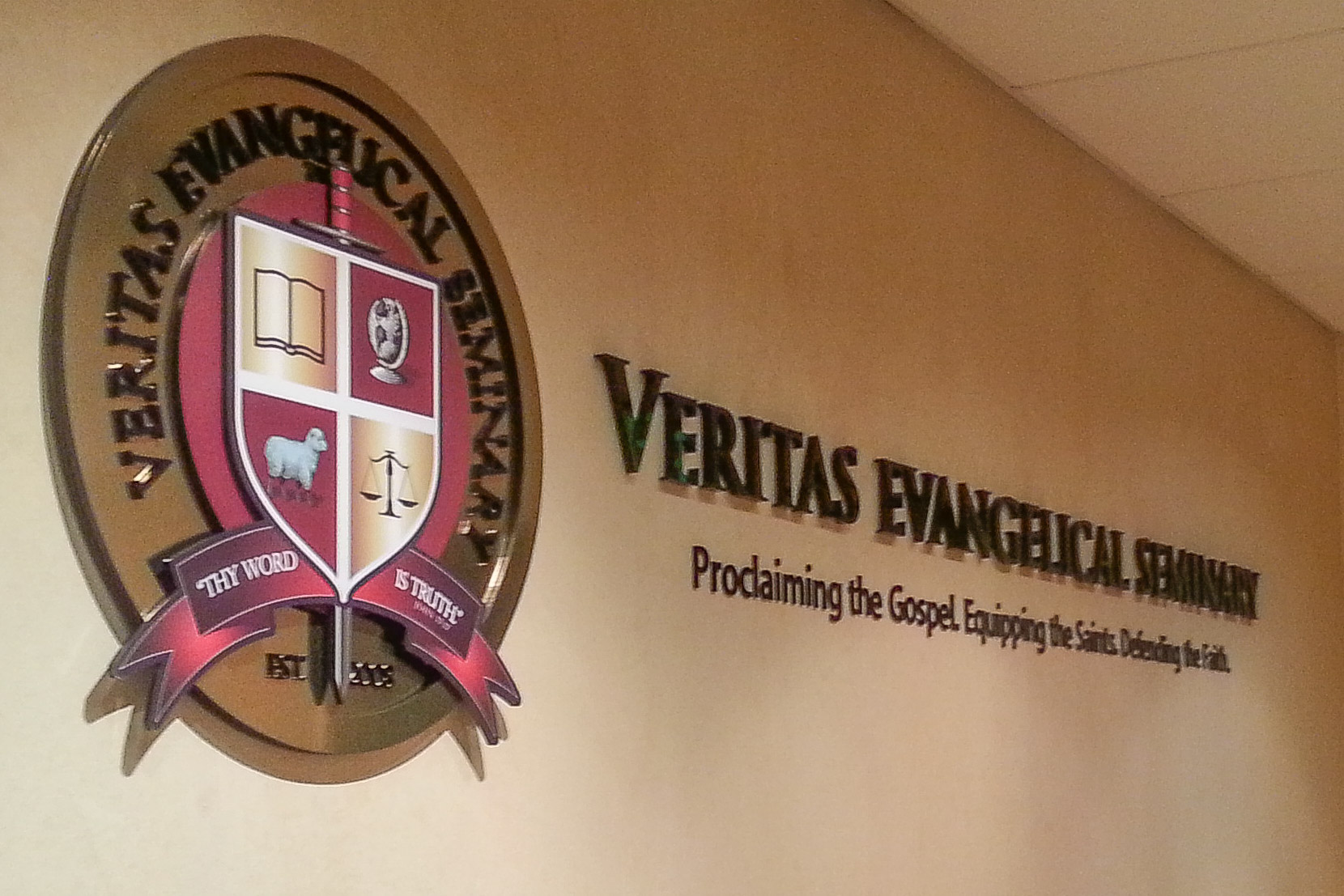 Veritas Evangelical Seminary reception logo sign