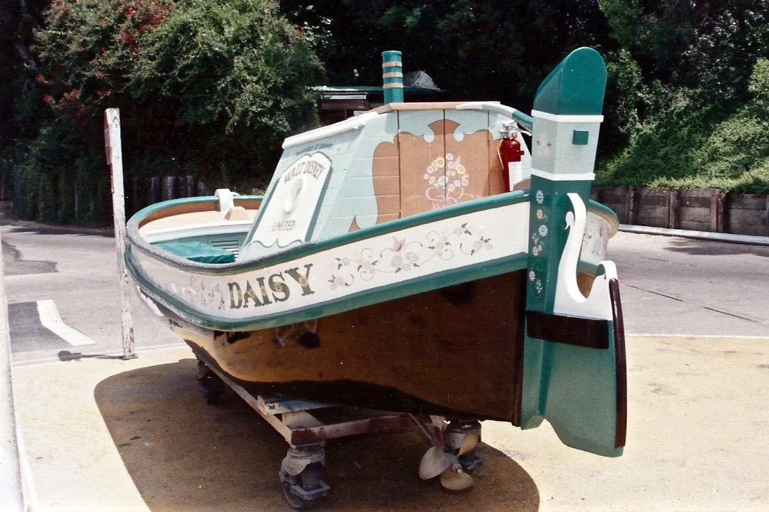 Hand painted Daisy Storybook Land boat graphics back
