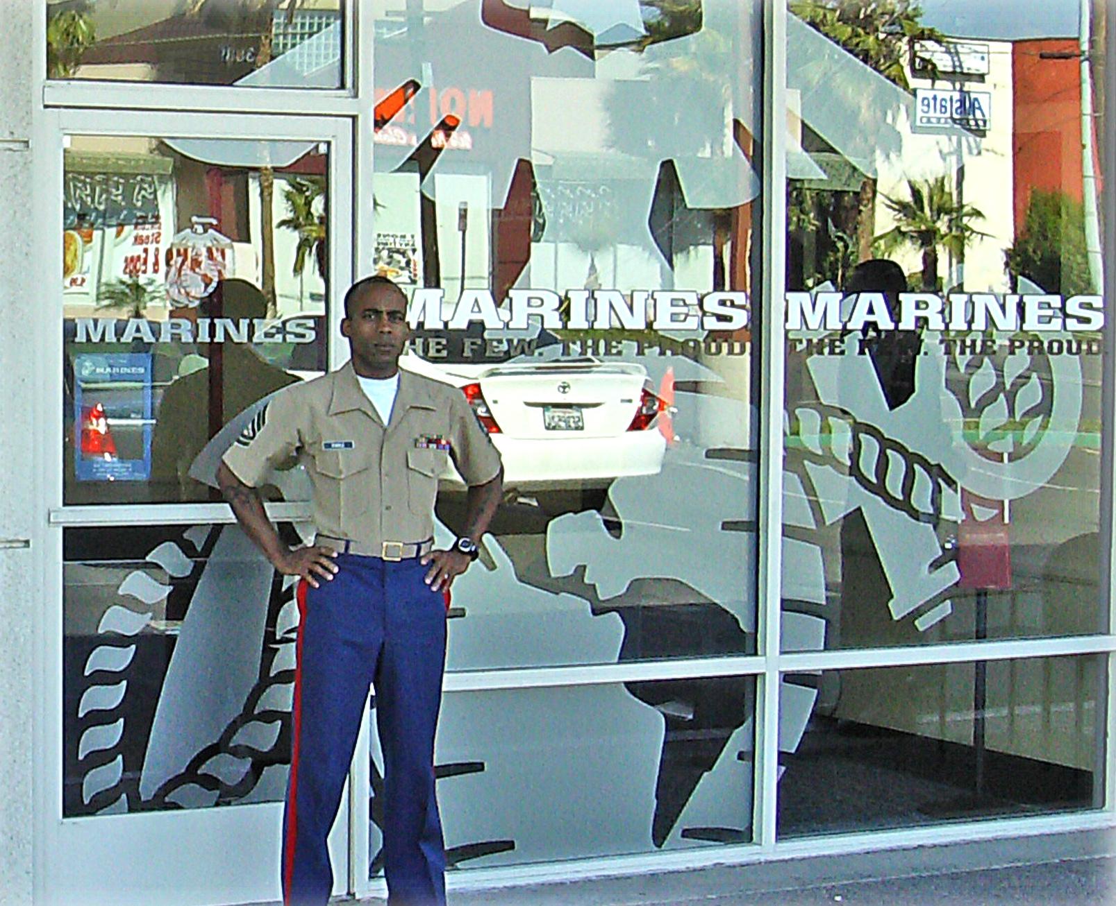 Marines Recruiting custom vinyl window graphics