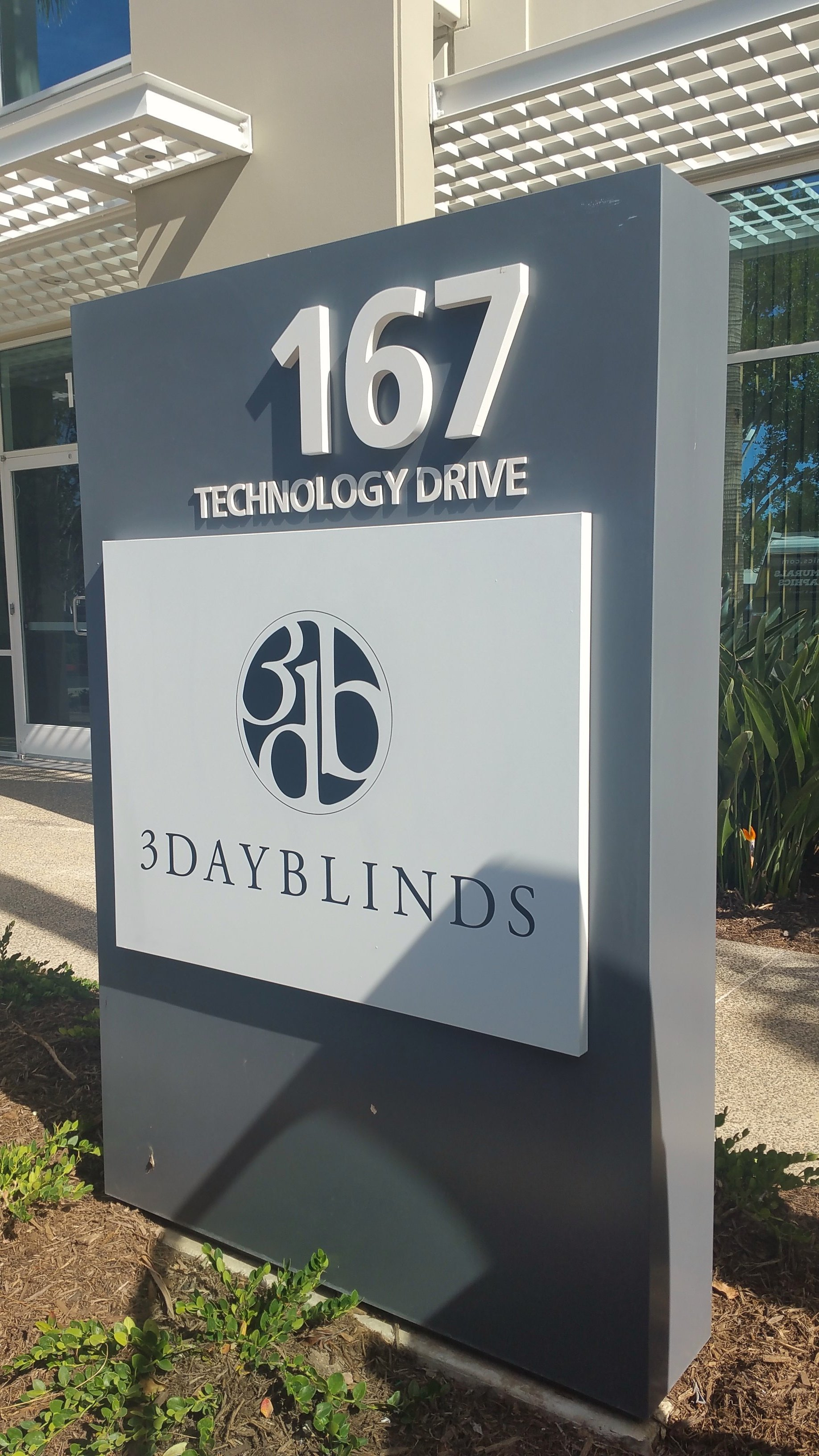 3 Day Blinds monument sign