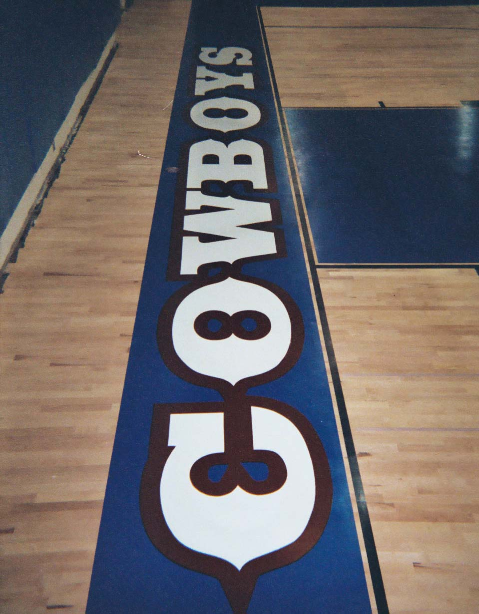 Chino High School in Chino CA - hand painted end zone graphics on wood floor