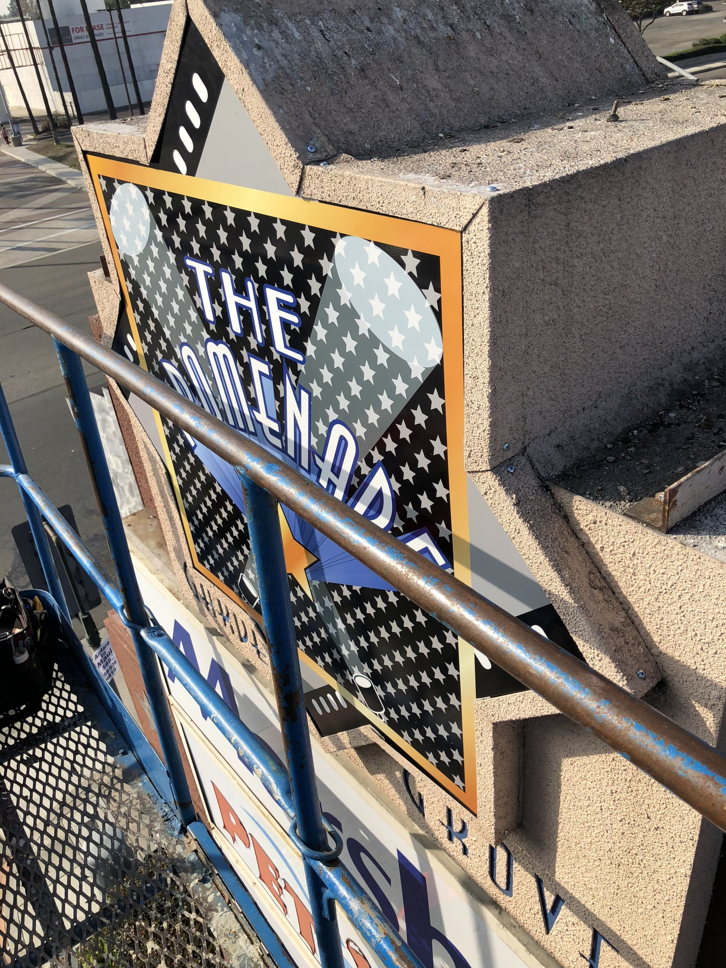 digitally printed sign facing installed
