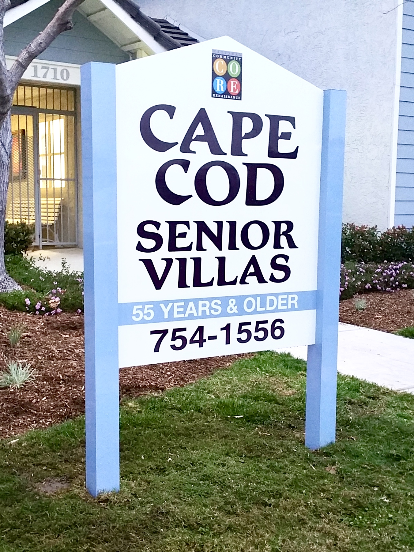 Cape Cod Senior Villas was a new monument sign in Oceanside, near San Diego. It's made of two aluminum posts and an aluminum panel mounted between.