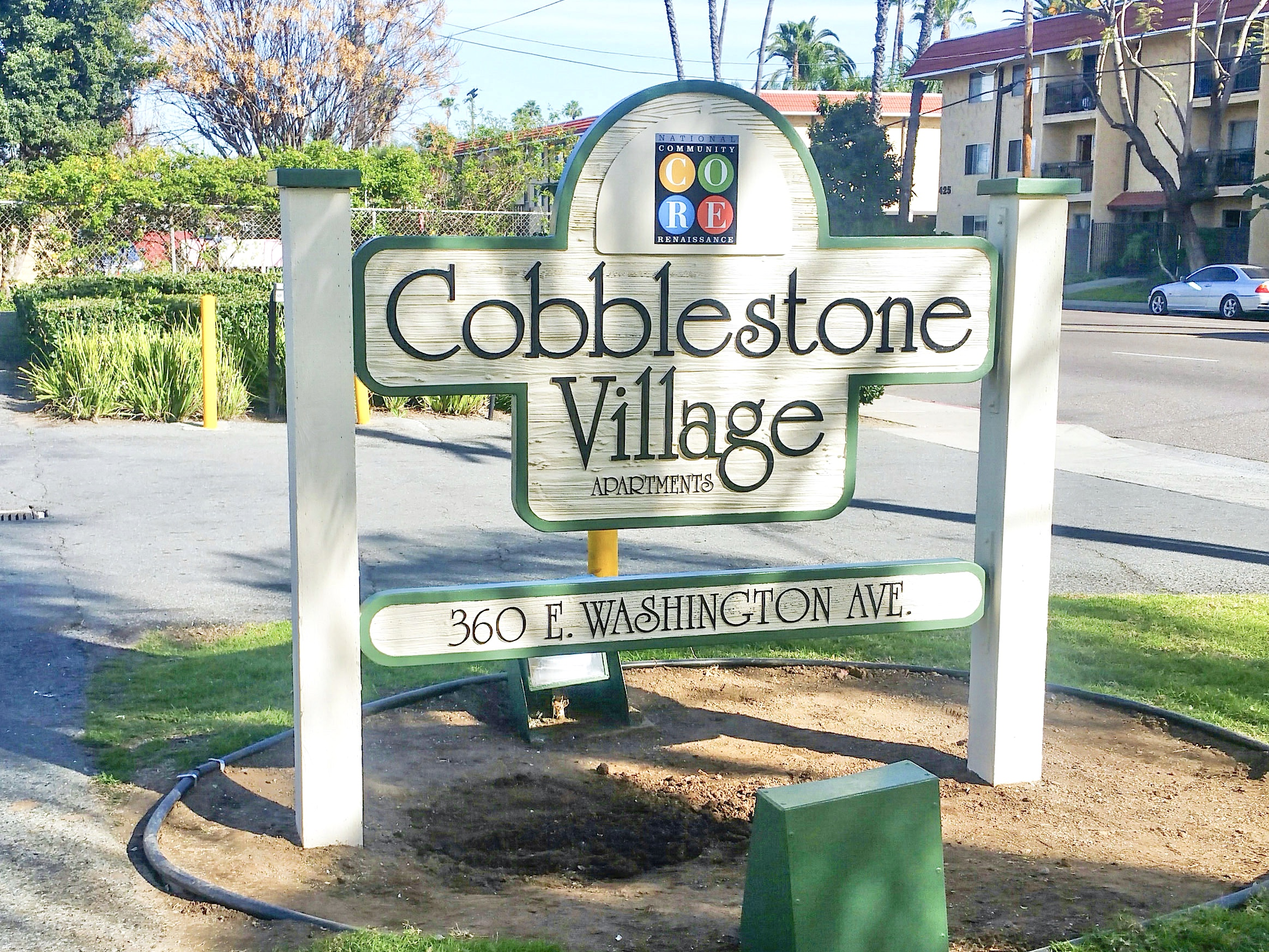 Cobblestone Village Apartments was a completely refurbished and repainted two-sided sandblasted monument sign in Escondido near San Diego CA.