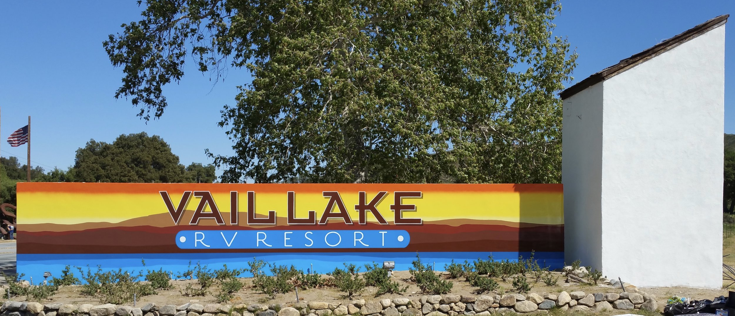 One last item — this Vail Lake RV Resort two-sided monument sign has hand-painted graphics, and is located in Temecula, near San Diego CA.