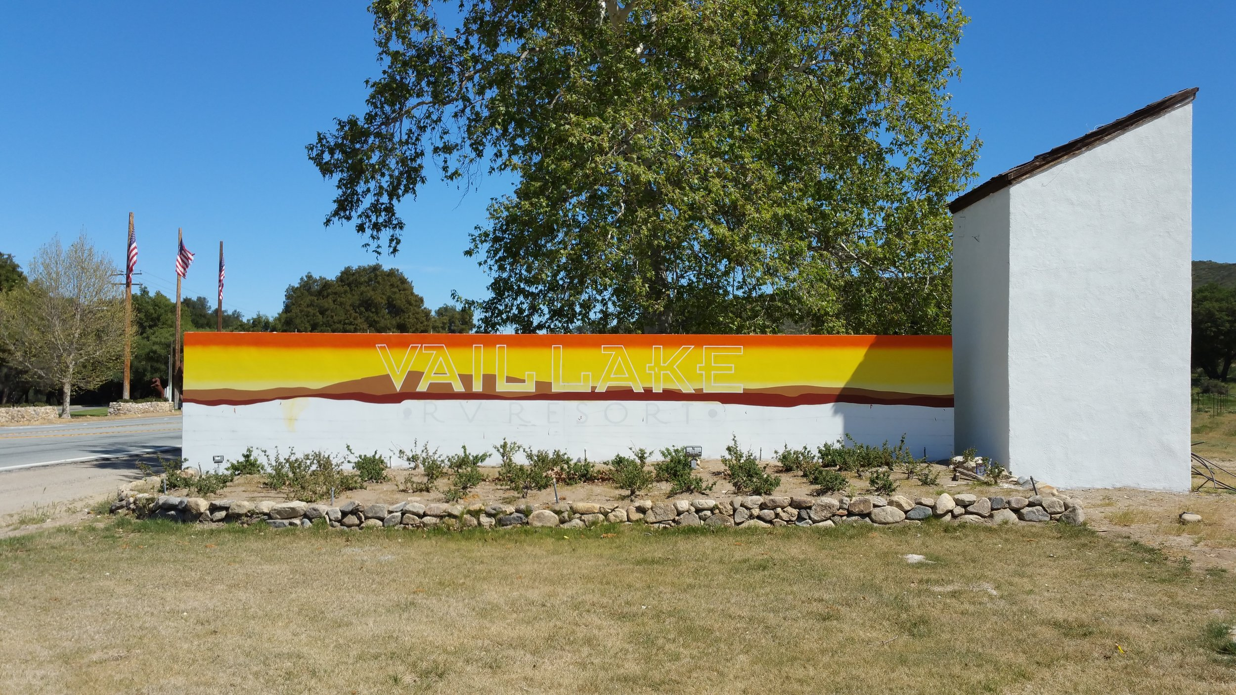 Vail Lake RV hand painted monument progress photo