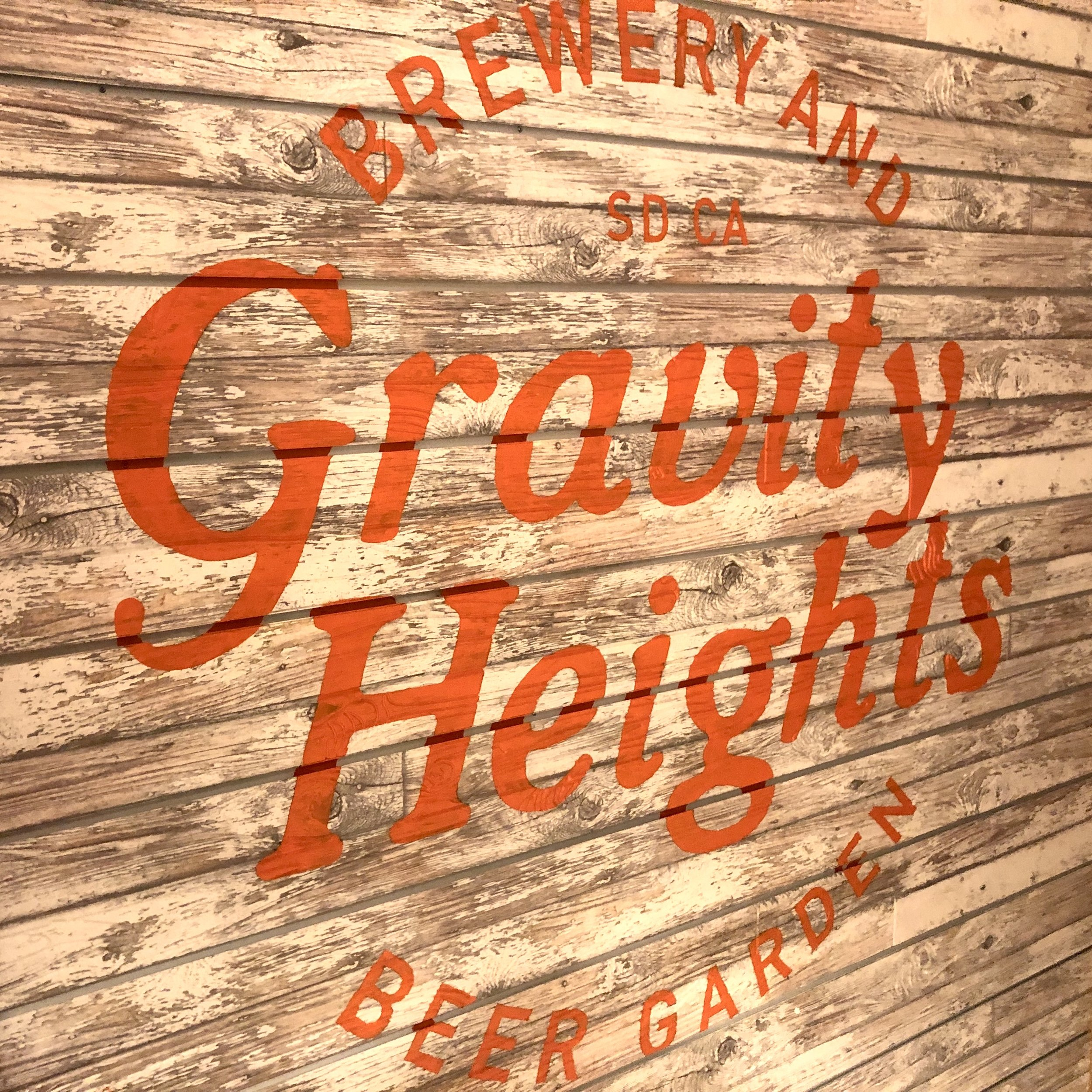 Gravity Heights Brewery San Diego hand painted brand logo