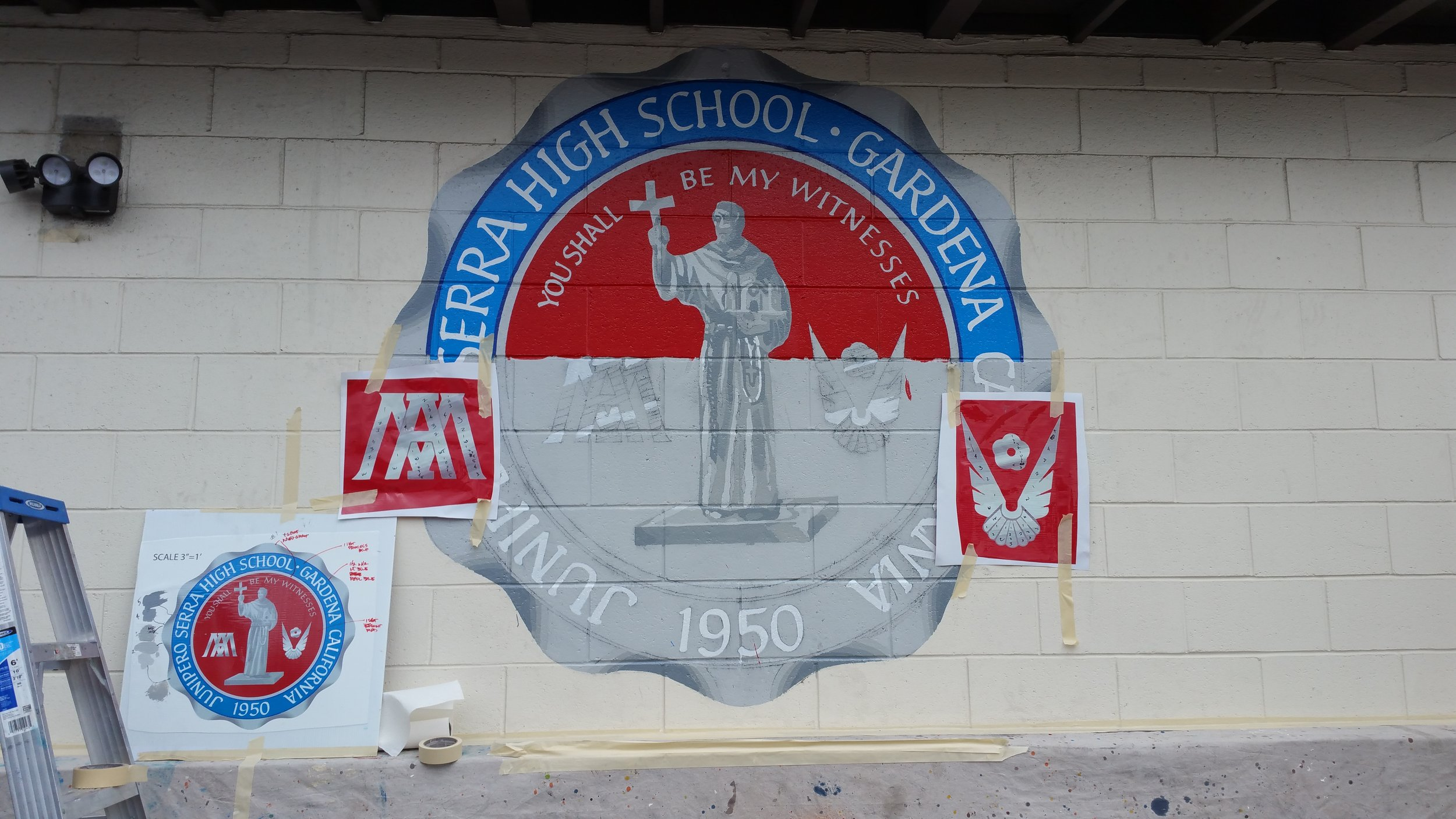 HAND PAINTED MURAL PROGRESS - SERRA HIGH SCHOOL SEAL