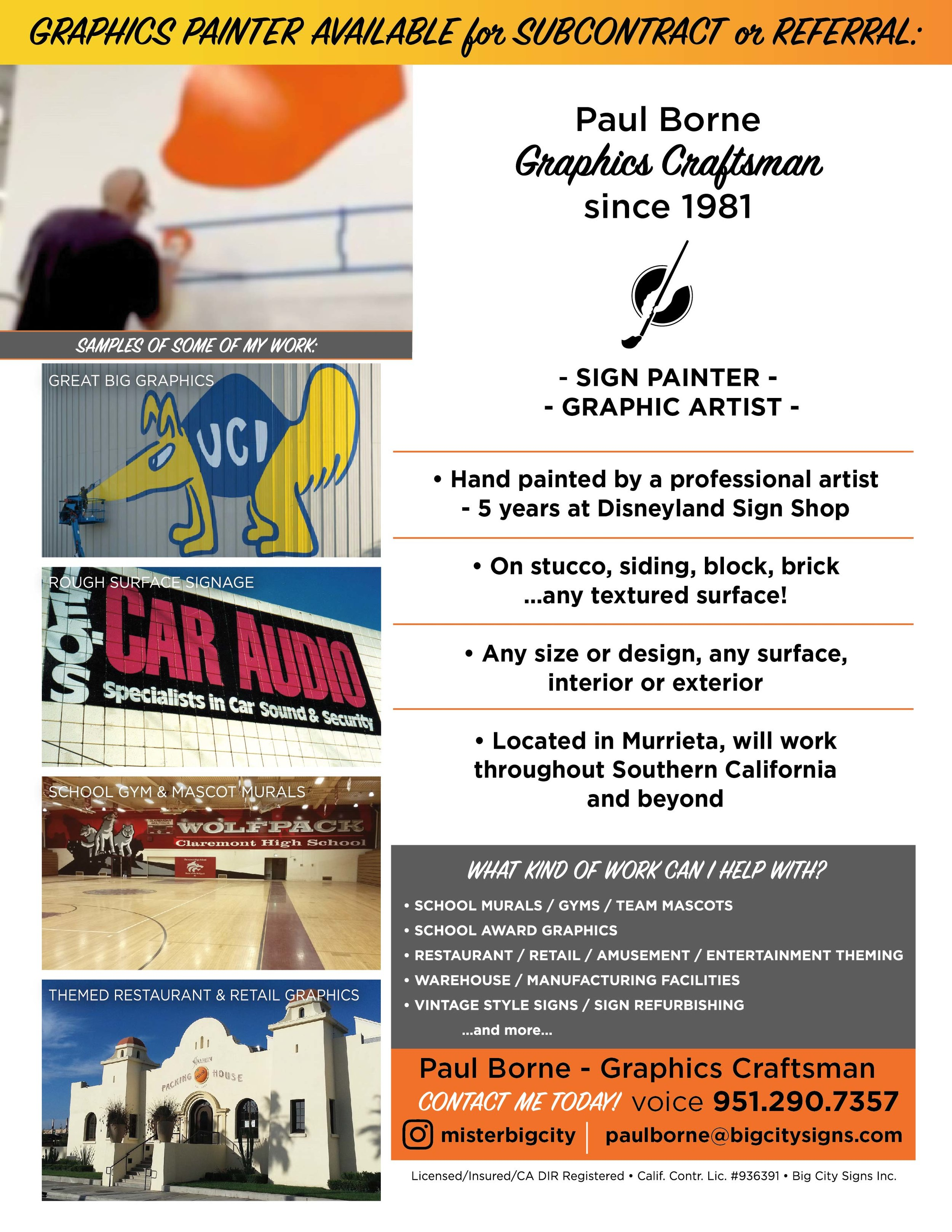 Your Sign Painter flyer - hand painted graphics, sign painter, graphic artist - San Diego, Orange County, Southern California and beyond