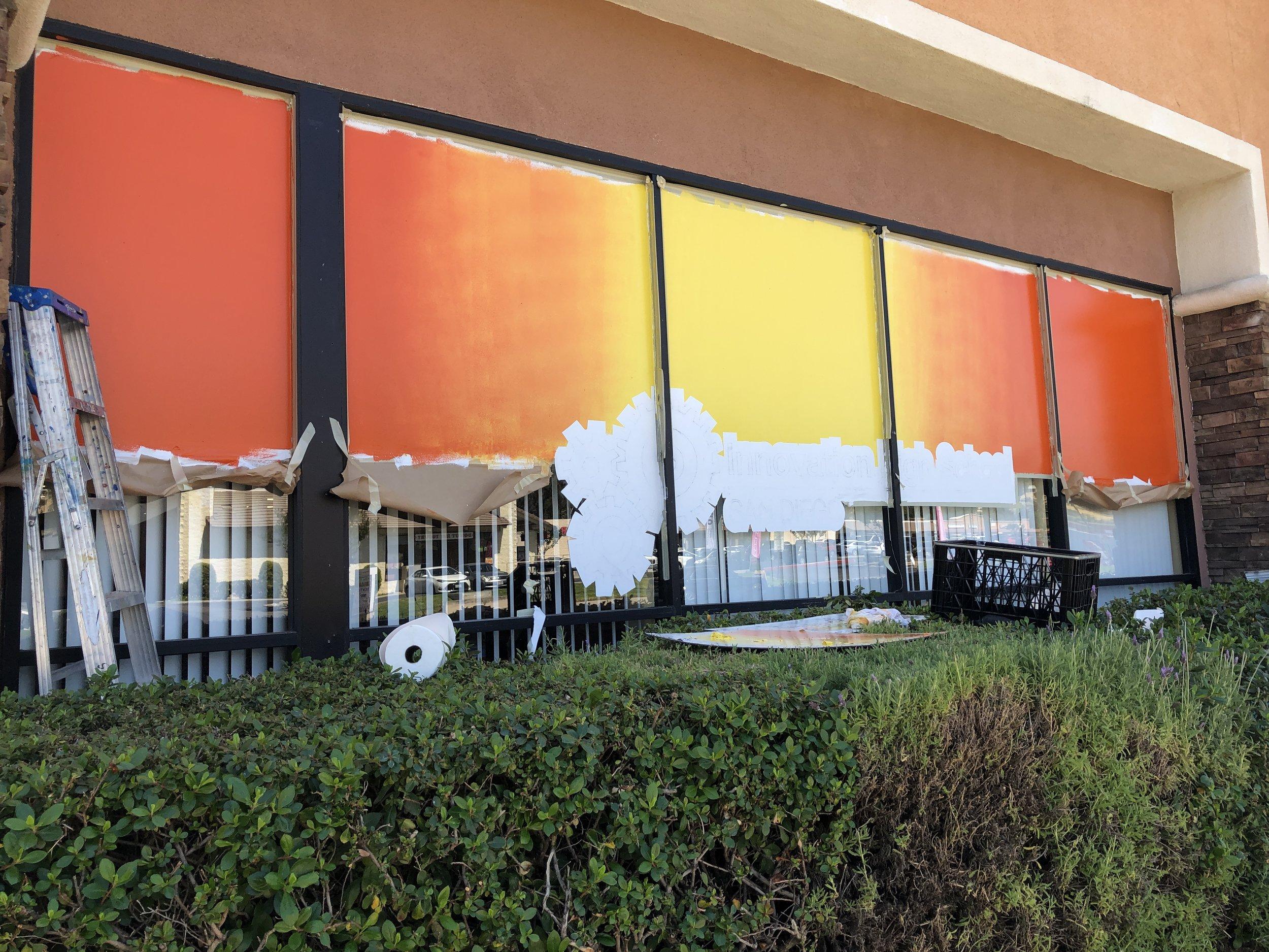 hand painted window sign window splash color roller blend